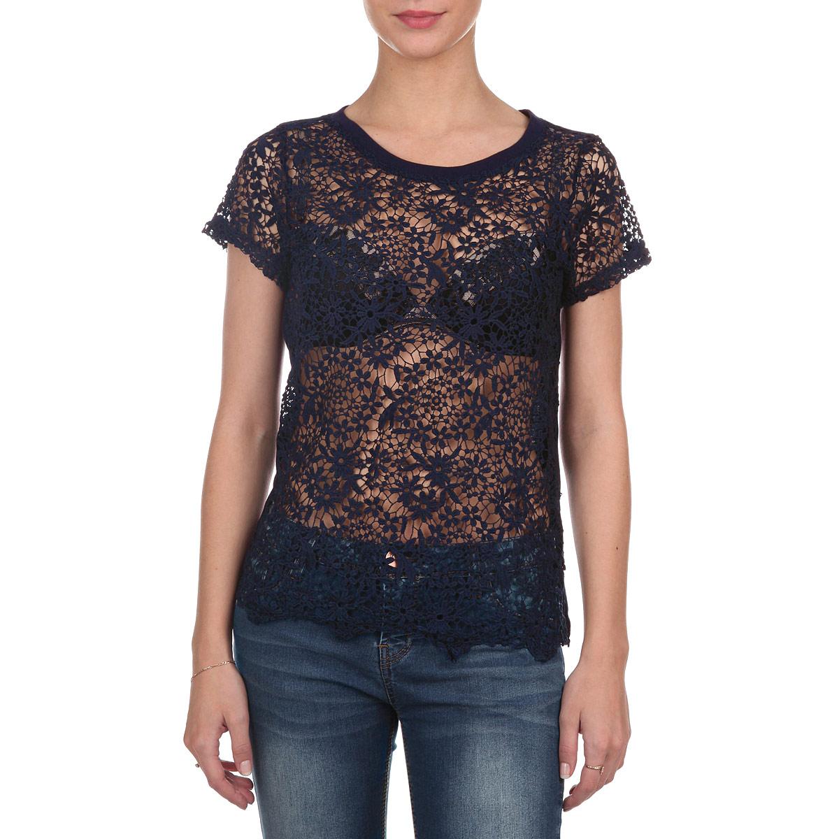 10152682 001Оригинальная женская футболка Broadway, выполненная из комбинации двух материалов - полиэстера и вискозы, позволяет коже дышать, не сковывает движения, обеспечивая комфорт при носке. Модель прямого кроя с круглым вырезом горловины и короткими рукавами. Перед и рукава футболки выполнены из ажурного кружевного полотна с цветочным узором. Эта модная футболка займет достойное место в вашем гардеробе. Идеальный вариант для создания эффектного образа.