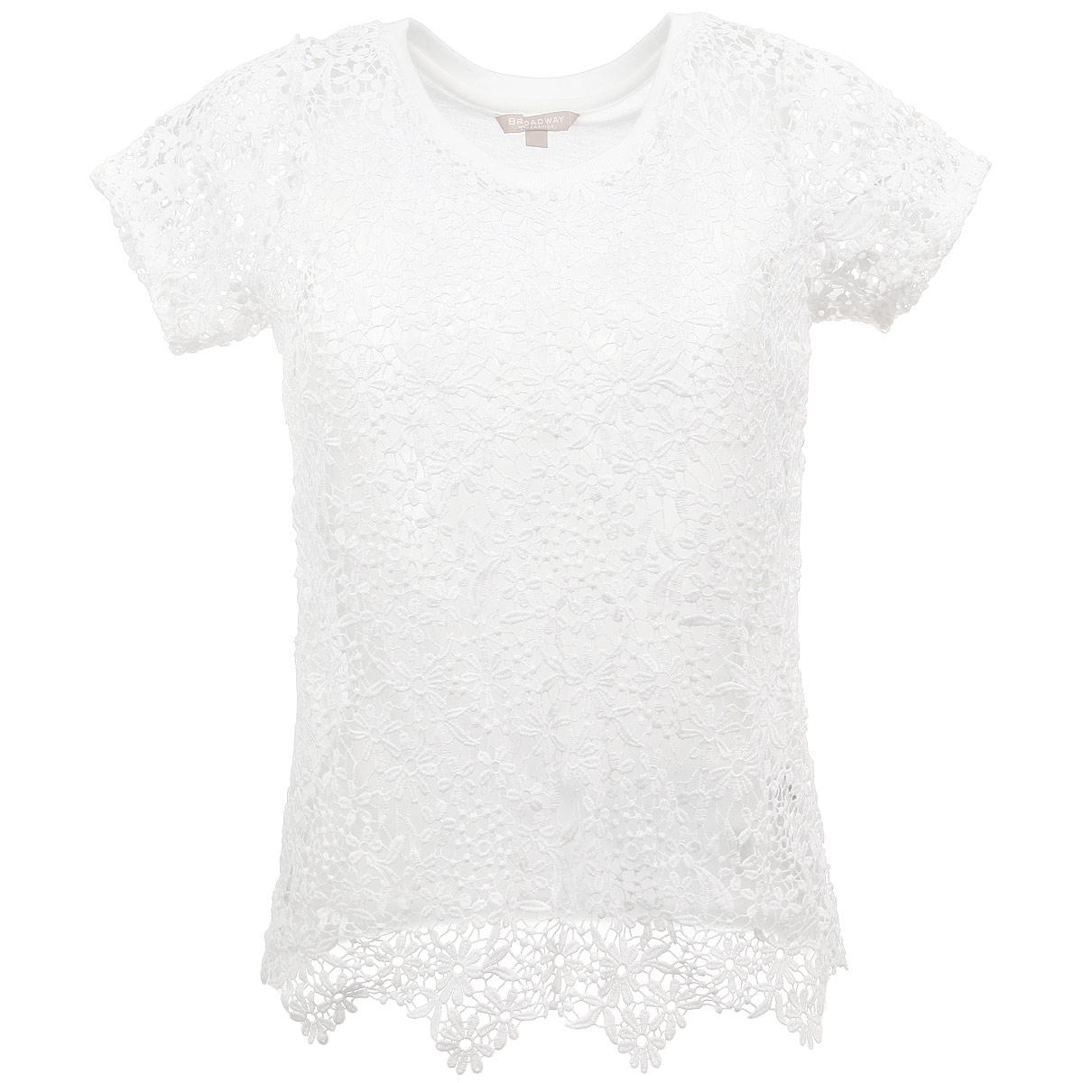 Футболка женская. 1015268210152682 001Оригинальная женская футболка Broadway, выполненная из комбинации двух материалов - полиэстера и вискозы, позволяет коже дышать, не сковывает движения, обеспечивая комфорт при носке. Модель прямого кроя с круглым вырезом горловины и короткими рукавами. Перед и рукава футболки выполнены из ажурного кружевного полотна с цветочным узором. Эта модная футболка займет достойное место в вашем гардеробе. Идеальный вариант для создания эффектного образа.