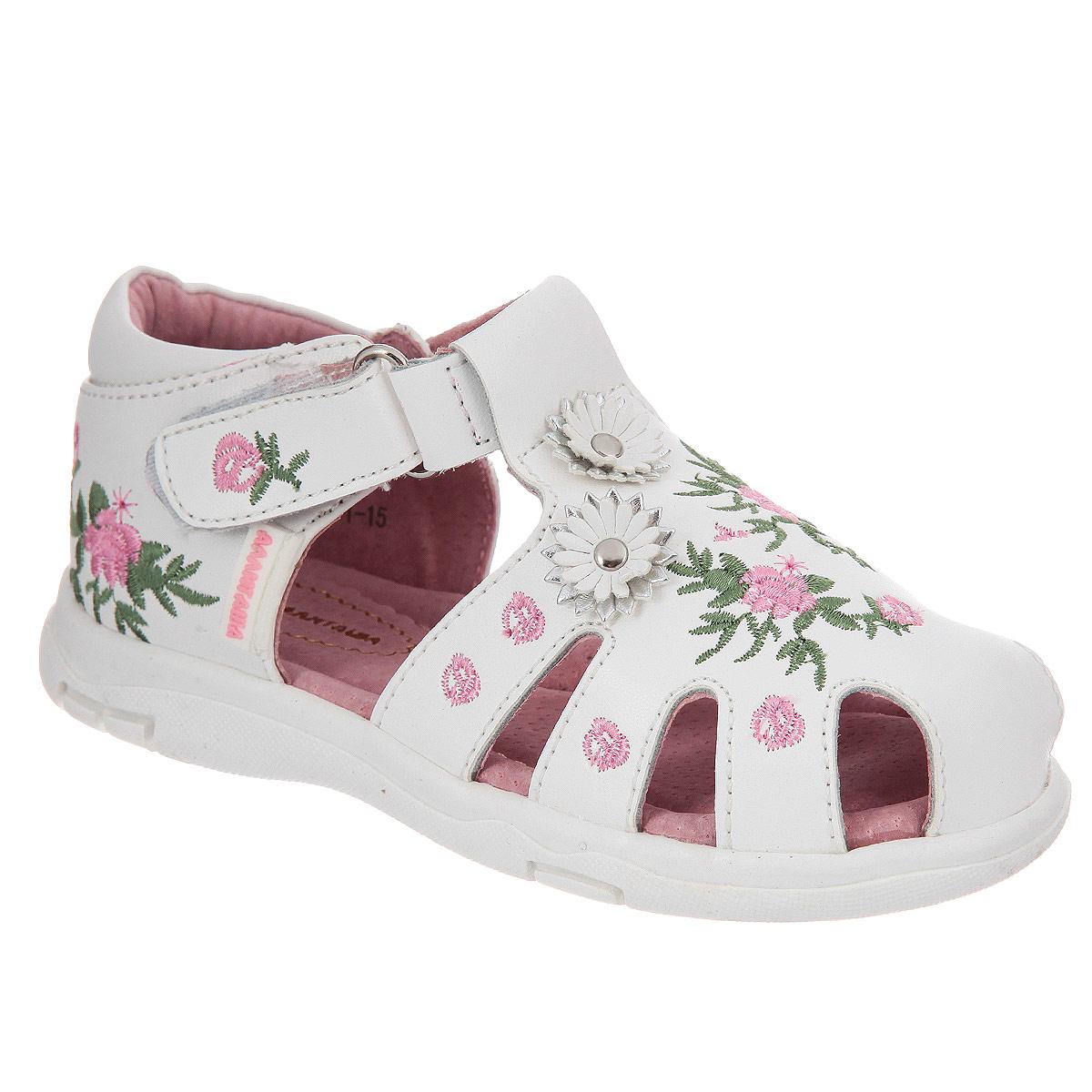 Сандалии24Яркие сандалии Аллигаша придутся по душе вашей маленькой моднице и идеально подойдут для повседневной носки в летнюю погоду! Модель выполнена из натуральной кожи и оформлена вышивкой. Спереди изделие украшено двумя цветками. Сердцевина цветов оформлена металлической заклепкой. Сбоку обувь оформлена прорезиненным названием бренда. Ремешок на застежке-липучке надежно зафиксирует модель на ноге ребенка. Стелька с супинатором, выполненная из натуральной кожи, обеспечивает правильное положение ноги ребенка при ходьбе, предотвращает плоскостопие. Рифленая поверхность подошвы защищает изделие от скольжения. Стильные сандалии - незаменимая вещь в гардеробе каждой девочки!