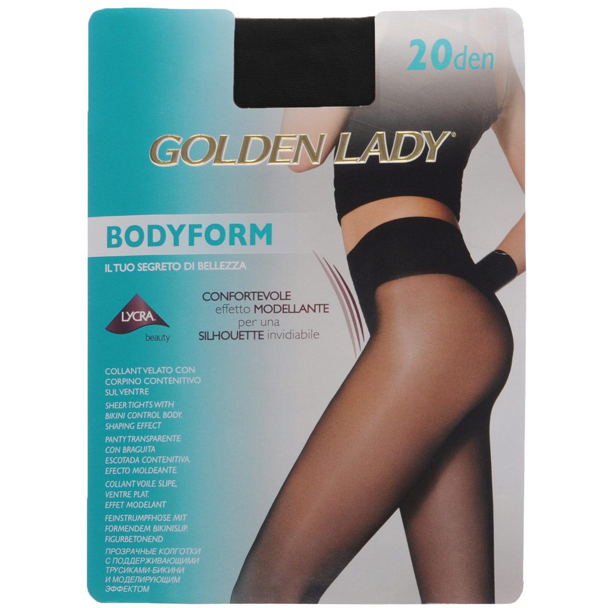 Колготки женские Bodyform 20. 39NVN39NVNКорректирующие колготки Golden Lady Bodyform с комфортными швами, гигиеничной ластовицей и невидимым носком. Изюминка модели - утягивающие трусики, которые, оптимально распределяя давление по ноге, моделируют фигуру в области живота, бедер и ягодиц. Плотность: 20 den.