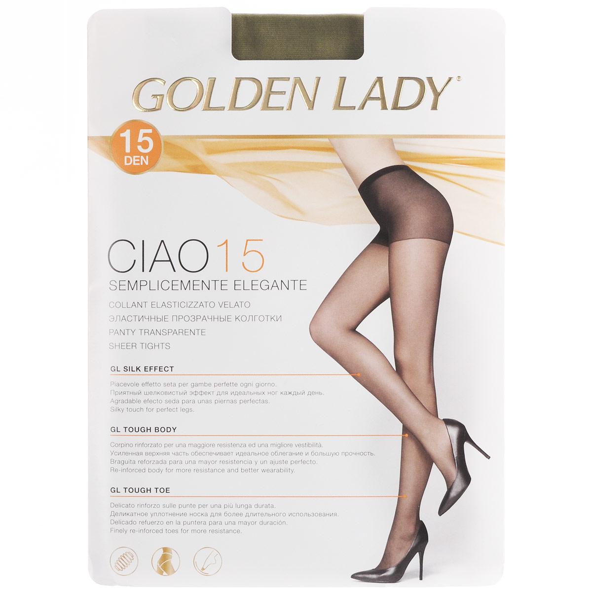 Колготки женские Ciao 15. 36N-UR36N-URТонкие эластичные колготки Golden Lady Ciao с комфортными швами и укрепленным мыском. Плотность: 15 den.