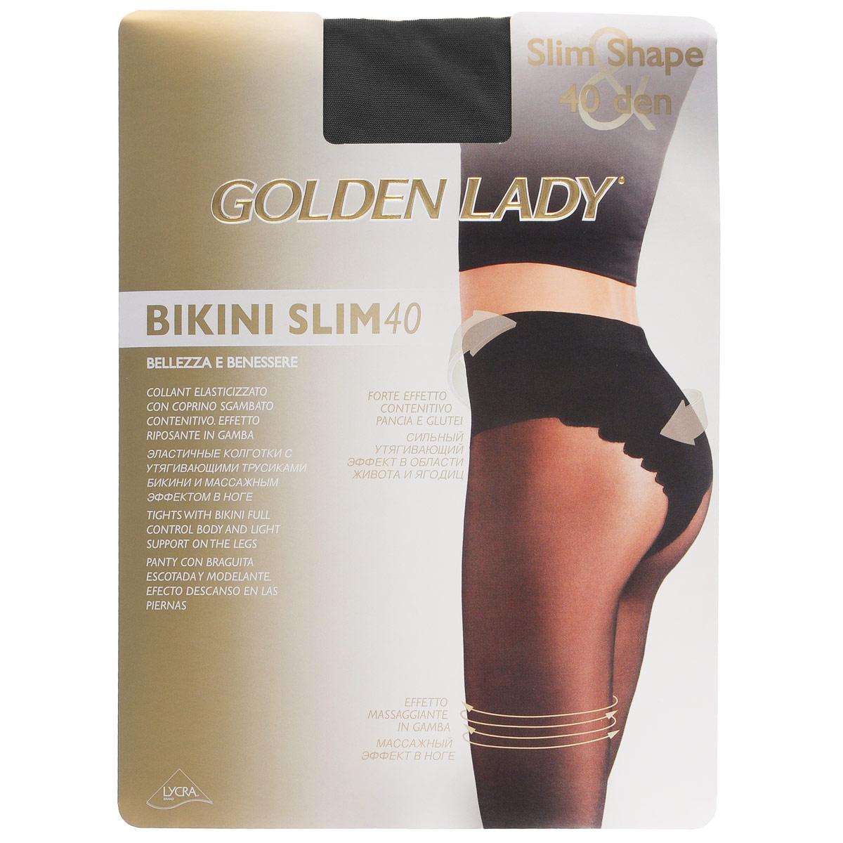 Колготки женские Bikini Slim 40. 122LLL122LLLЭластичные поддерживающие колготки Golden Lady Bikini Slim с комфортными швами, гигиеничной ластовицей и невидимым мыском. Изюминка модели - плотные утягивающие трусики с ажурным оформлением, которые моделируют фигуру в области живота, бедер и ягодиц. Плотность: 40 den.