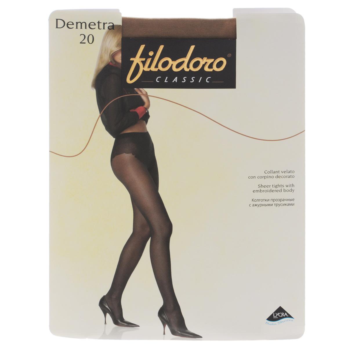 Колготки женские Demetra 20. C114066FCC114066FCТонкие матовые колготки Filodoro Classic Demetra с высокими ажурными трусиками, гигиеничной ластовицей, удобным швом и невидимым мыском. Плотность: 20 den.