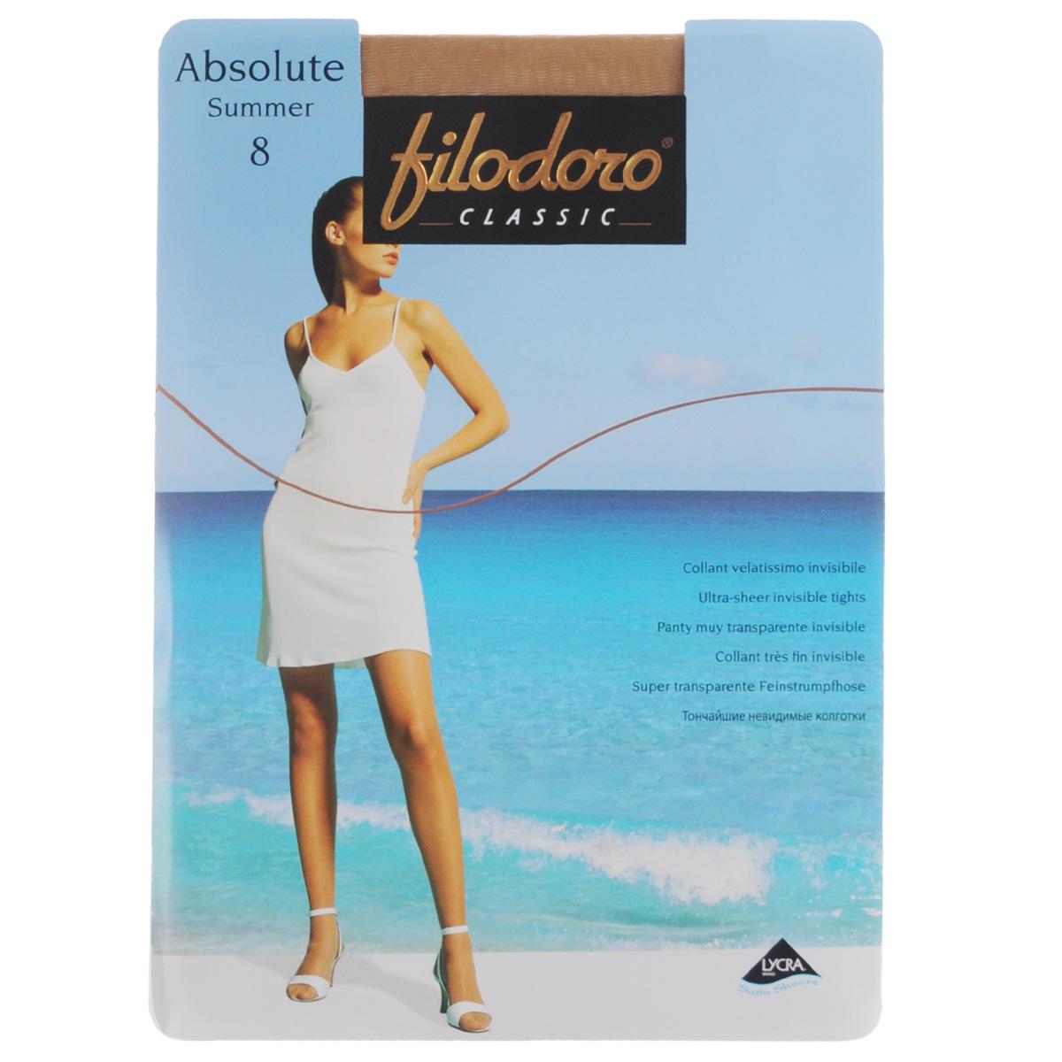 Колготки женские Absolute Summer 8. C109155FCC109155FCТончайшие эластичные колготки Filodoro Classic Absolute Summer, однородные по всей длине, с комфортными швами, гигиеничной ластовицей и невидимым мыском. Плотность: 8 den.