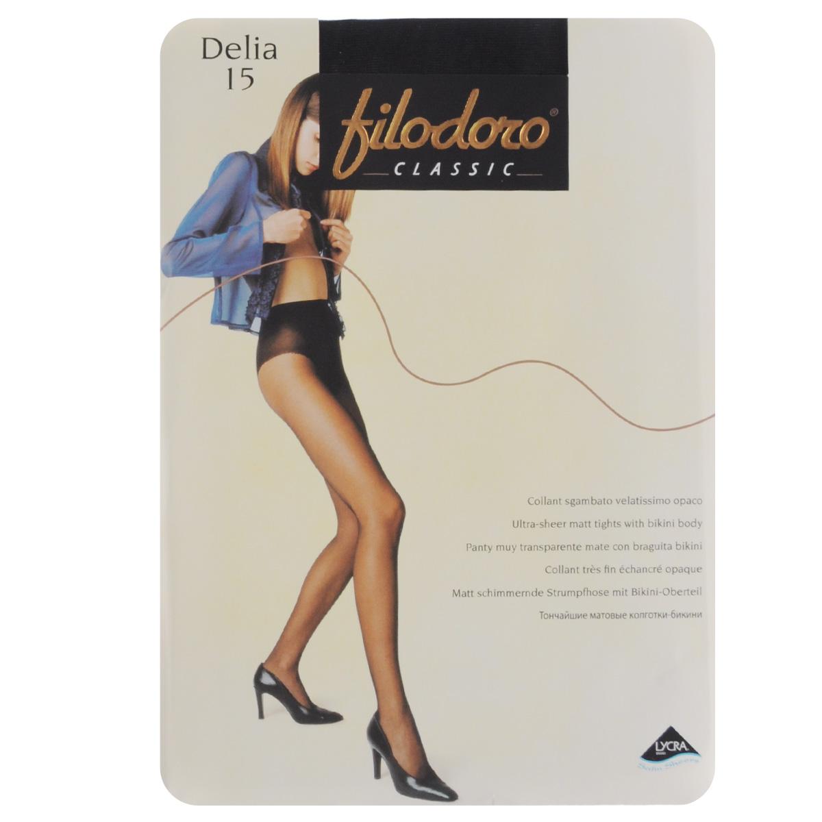 Колготки женские Delia 15. C109143FCC109143FCТонкие матовые эластичные колготки Filodoro Classic Delia с высокими ажурными трусиками, гигиеничной ластовицей, комфортным швом и невидимым мыском. Плотность: 15 den.
