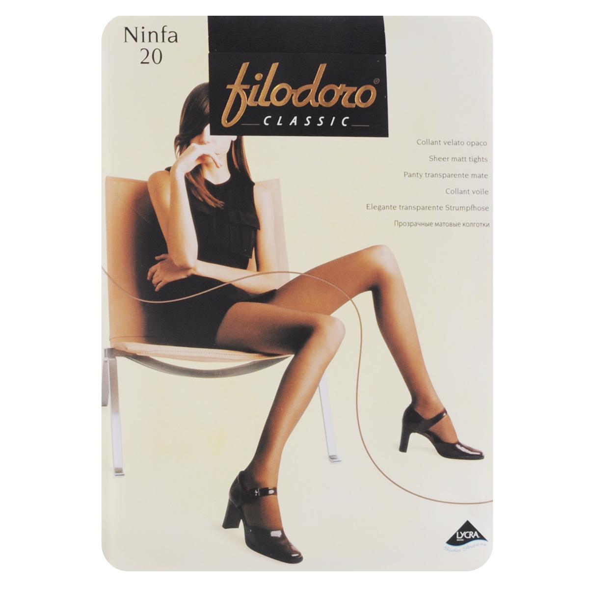 Колготки женские Classic Ninfa 20C109172FCТонкие матовые эластичные колготки Filodoro Classic Ninfa, однородные по всей длине, с комфортным швом, гигиеничной ластовицей и укрепленным мыском. Плотность: 20 den.