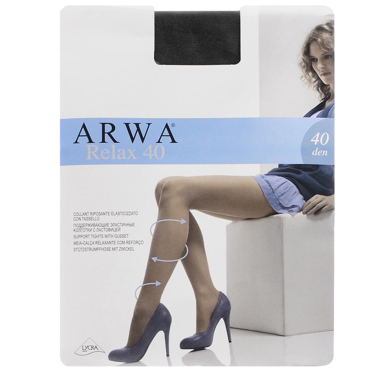 Колготки женские Relax 40. 831831ARWAТонкие эластичные колготки Arwa Relax с комфортными швами и гигиеничной ластовицей. Изюминка модели - утягивающие шортики, которые, оптимально распределяя давление по ноге, корректируют силуэт. Плотность: 40 den.