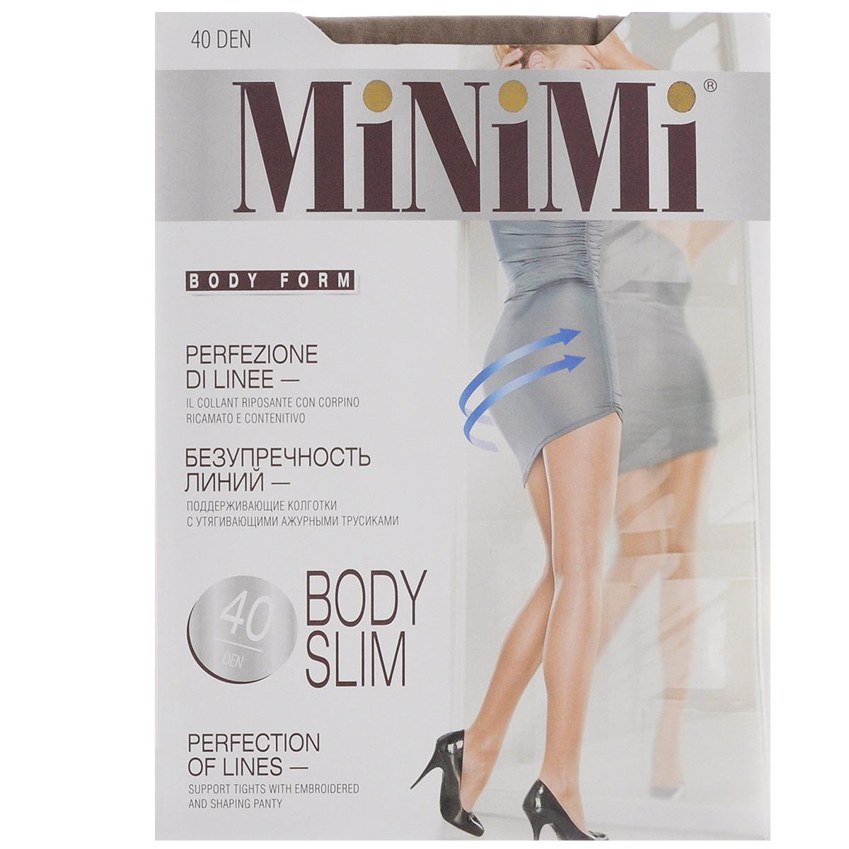 Колготки женские Body Slim 40BODY SLIM 40Эластичные поддерживающие колготки Minimi Body Slim с комфортными плоскими швами, гигиеничной ластовицей и укрепленным мыском. Изюминка модели - плотные утягивающие трусики (70 den) с ажурным оформлением, которые моделируют фигуру в области живота, бедер и ягодиц. Плотность колготок: 40 den.
