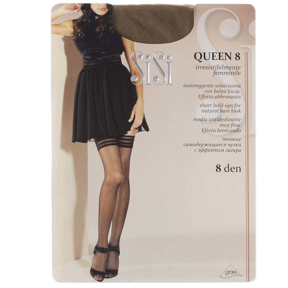 99SISIТончайшие чулки Sisi Queen с сетчатой каймой, оформленной узором в полоску, и невидимым мыском. Фиксирующая резинка - на силиконовой основе. Плотность: 8 den.
