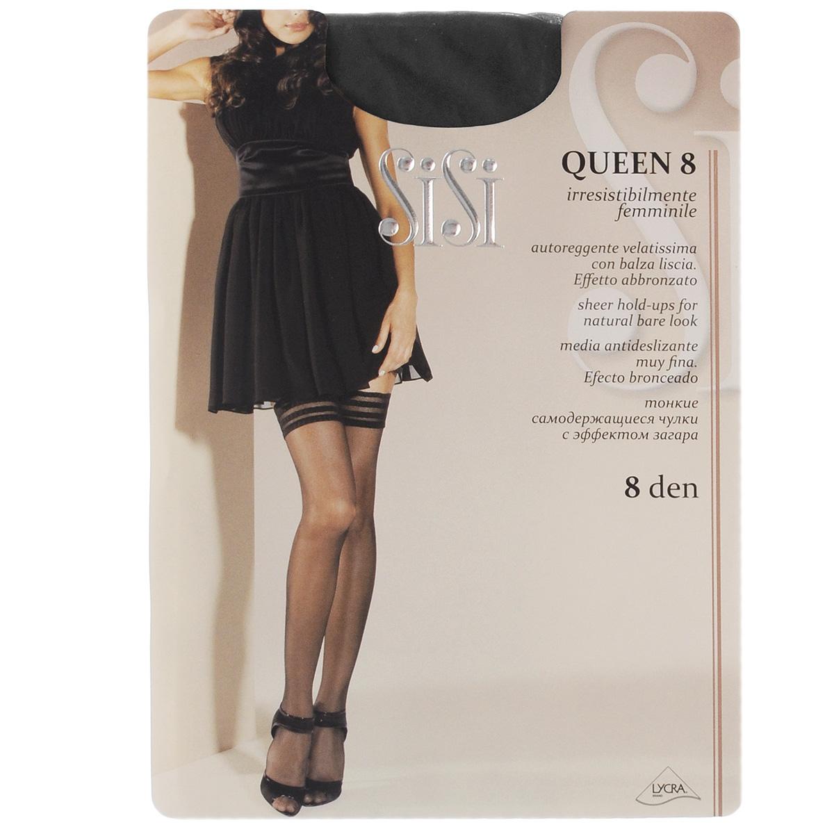 Чулки99SISIТончайшие чулки Sisi Queen с сетчатой каймой, оформленной узором в полоску, и невидимым мыском. Фиксирующая резинка - на силиконовой основе. Плотность: 8 den.