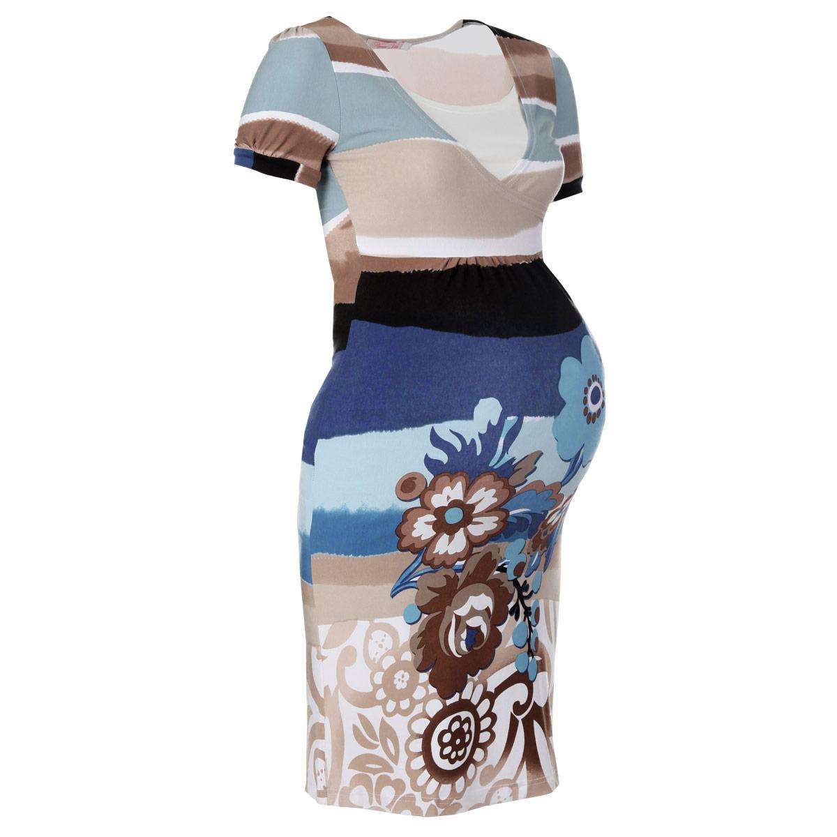 Платье2101Стильное и удобное платье для будущих и кормящих мам Nuova Vita, изготовленное из эластичной вискозы, женственно и элегантно. Платье с короткими рукавами-фонариками и круглым вырезом горловины подчеркнет очарование будущей мамы, а секрет для кормления сделает его функциональной в период вскармливания ребенка. Секрет кормления выполнен в виде внутренней майки. Платье оформлено крупными цветочным узором и присборено под грудью. Это легкое и невероятно приятное на ощупь платье можно носить во время беременности и после родов, оно подарит вам удобство и комфорт, и подчеркнет ваше очарование в этот прекрасный период вашей жизни! Вискоза является волокном, произведенным из натурального материала - целлюлозы (древесины). Иногда ее называют древесный шелк. Эта ткань на ощупь мягкая и приятная, образует красивые складки. Материал очень хорошо впитывает влагу, не образует катышек со временем, не выцветает на солнце и обладает приятным шелковистым блеском.