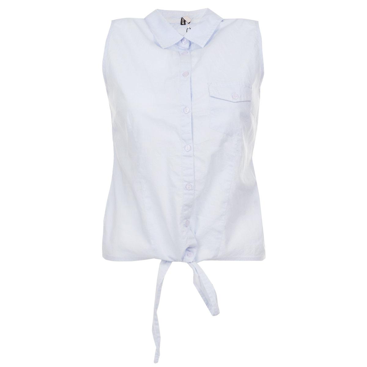БлузкаTBW0062BLСтильная женская блуза Troll, выполненная из высококачественного материала, обладает высокой теплопроводностью, воздухопроницаемостью и гигроскопичностью, позволяет коже дышать, тем самым обеспечивая наибольший комфорт при носке. Модная блузка без рукавов свободного покроя с отложным воротником поможет вам создать неповторимый образ в стиле Casual. Однотонная блуза великолепно сочетается с любыми нарядами. Модель дополнена накладным карманом на груди и застегивается на пуговицы. Низ блузки дополнен двумя завязками. Такая блузка будет дарить вам комфорт в течение всего дня и послужит замечательным дополнением к вашему гардеробу.
