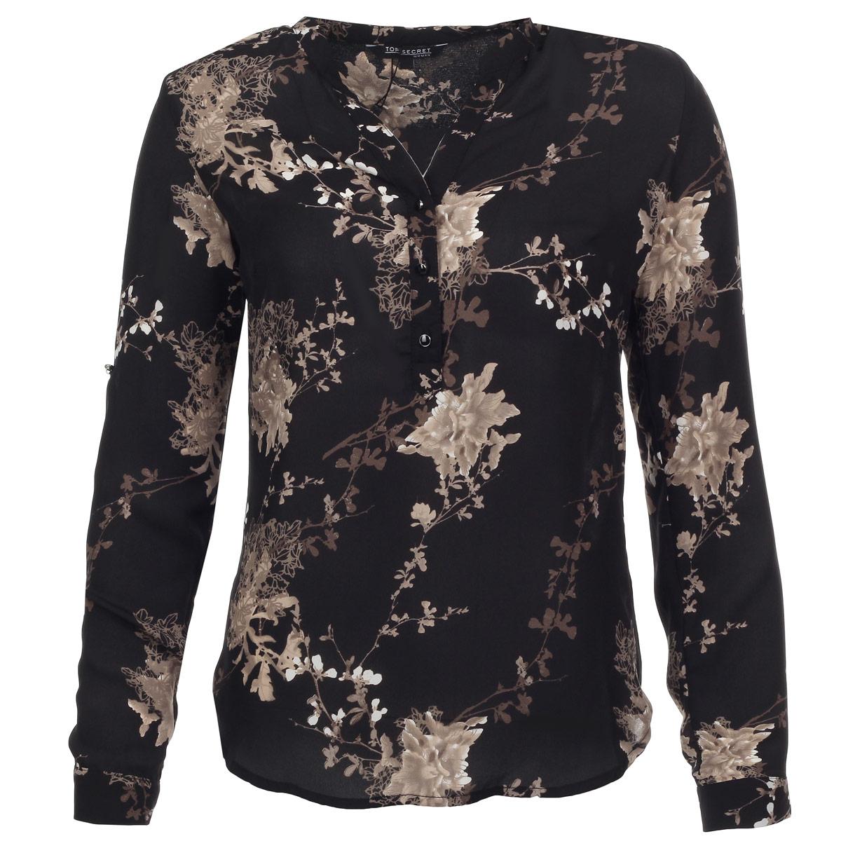 БлузкаSKL1692CAВеликолепная блузка Top Secret с заниженной спинкой, изготовленная из высококачественного материала, необычайно мягкая и приятная на ощупь, не сковывает движения и позволяет коже дышать, не раздражает даже самую нежную и чувствительную кожу, обеспечивая наибольший комфорт. Изделие оформлено растительным узором. Модель свободного кроя, с длинными рукавами, с V-образным вырезом горловины. Блуза застегивается на пуговицы спереди. Рукава оснащены манжетами на пуговицах. Такая блузка будет дарить вам комфорт в течение всего дня и послужит замечательным дополнением к вашему гардеробу.