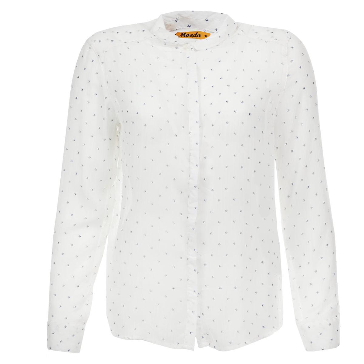 БлузкаL-KO-1721 NAVYСтильная женская блуза Moodo, выполненная из высококачественного полупрозрачного материала, подчеркнет ваш уникальный стиль. Модная блузка свободного кроя с длинными рукавами и отложным воротником поможет вам создать неповторимый образ. Изделие оформлено изображением птиц. Эта блуза идеальный вариант для вашего гардероба. Блуза застегивается на пуговицы спереди. Рукава оснащены манжетами на пуговицах. Такая блузка будет дарить вам комфорт в течение всего дня и послужит замечательным дополнением к вашему гардеробу.