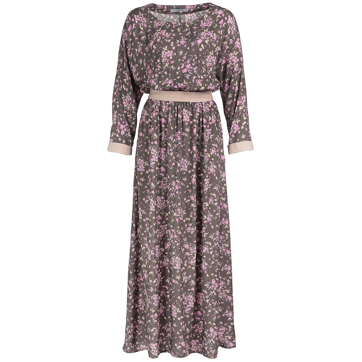 Платье. Y1362-0146Y1362-0146Элегантное платье Yarmina в пол придаст очарование и женственность своей обладательнице. Модель с отрезной талией, круглым вырезом горловины и длинными рукавами-кимоно. Платье длины макси выполнено из приятной струящейся ткани - высококачественного полотна вискозы с цветочным принтом. На талии модель собрана на резинку и дополнена изящным пояском. Изысканный наряд создаст обворожительный неповторимый образ. Приталенный силуэт подчеркивает стройность фигуры.