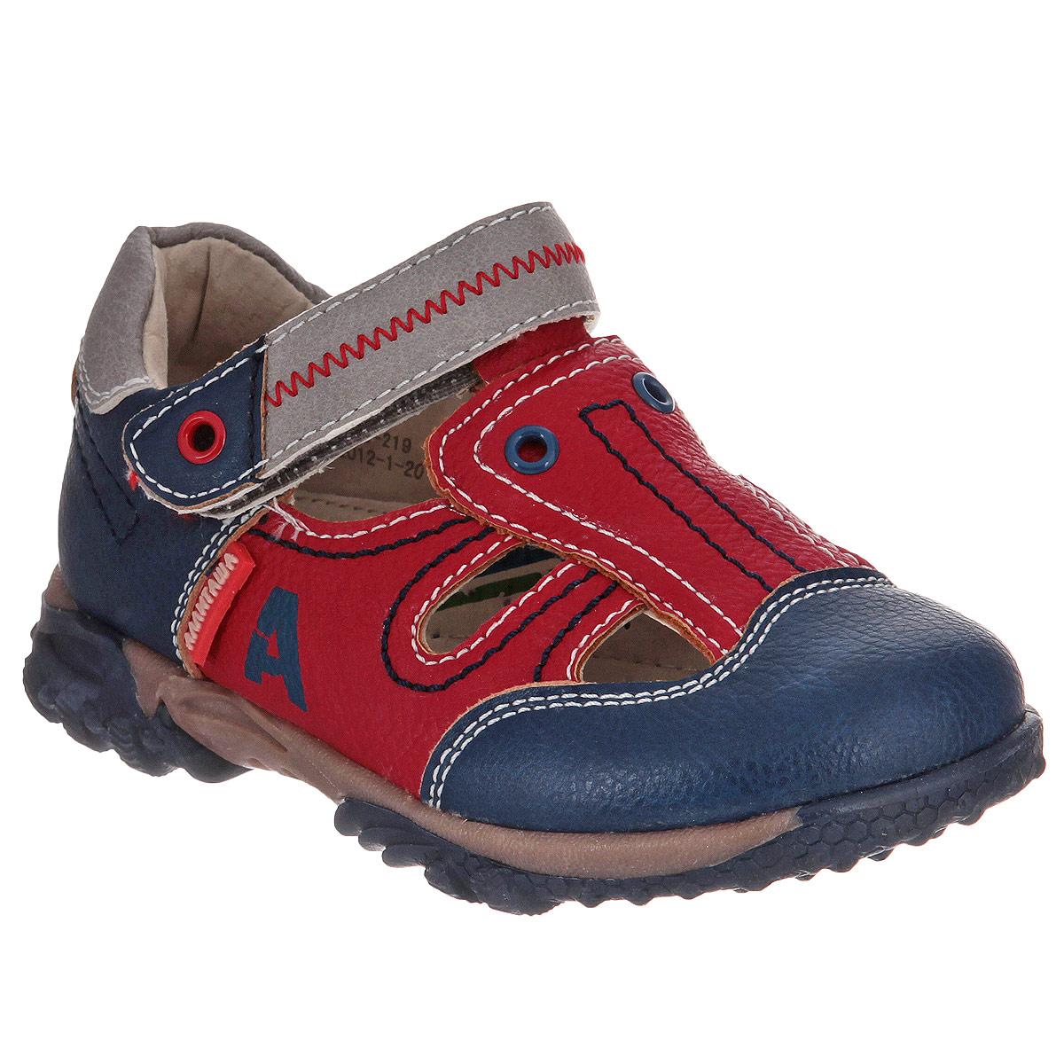 Сандалии для мальчика. 12-21912-219Стильные закрытые сандалии Аллигаша подойдут как для повседневной носки в закрытых помещениях, так и для уличных прогулок. Модель выполнена из искусственной кожи и оформлена контрастной прострочкой, металлическими клепками и логотипом бренда. Полужесткий закрытый задник и ремешок с застежкой-липучкой надежно фиксируют ножку ребенка, не давая ей смещаться из стороны в сторону и назад. Стелька из натуральной кожи дополнена супинатором с перфорацией, который обеспечивает правильное положение ноги ребенка при ходьбе, предотвращает плоскостопие. Внутренний материал обеспечивает идеальный микроклимат, позволяя ножке дышать. Рифленая поверхность подошвы защищает изделие от скольжения. Модные сандалии и яркий дизайн поднимут настроение вам и вашему ребенку!