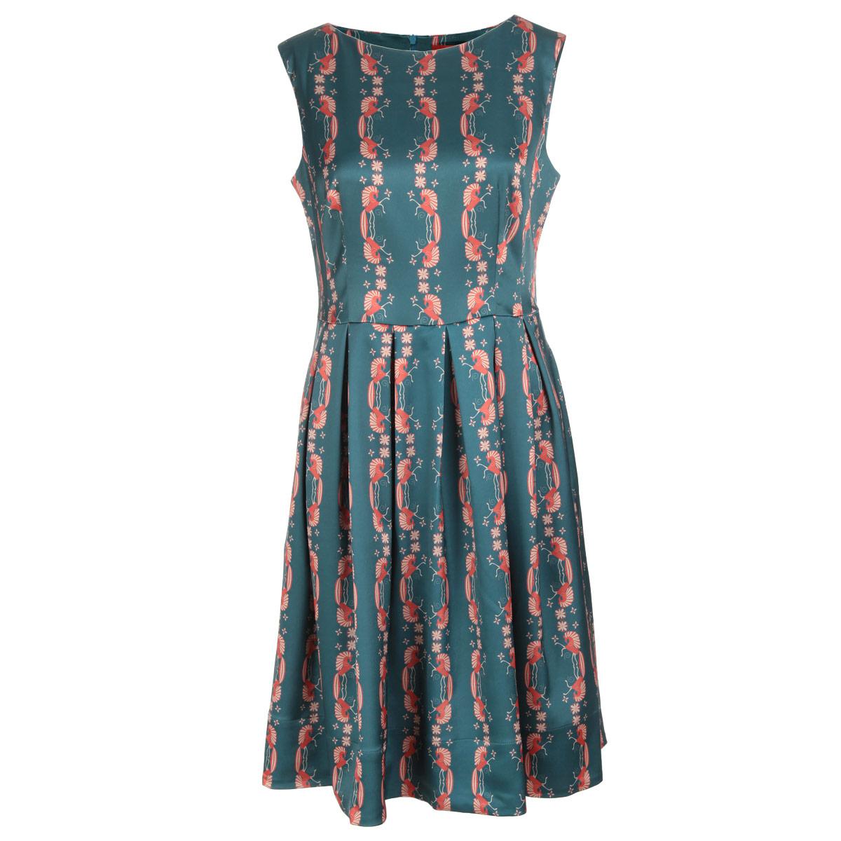 ПлатьеP01A4-8Элегантное платье Анна Чапман подарит вам удобство и поможет вам подчеркнуть свой вкус и неповторимый стиль. Изготовленное из плотной шелковистой ткани, оно мягкое на ощупь, не раздражает кожу и хорошо вентилируется. Модель с круглым вырезом горловины без рукавов на спинке застегивается на потайную застежку-молнию. По бокам изделие дополнено двумя втачными карманами. Эта модель подчеркивает талию и идеально сидит на груди благодаря выверенным вытачкам. Складки на отрезной юбке дарят образу романтичность. Оформлена модель принтом Кони. Этот орнамент символизирует счастье и движение к солнцу. В таком наряде вы, безусловно, привлечете восхищенные взгляды окружающих.