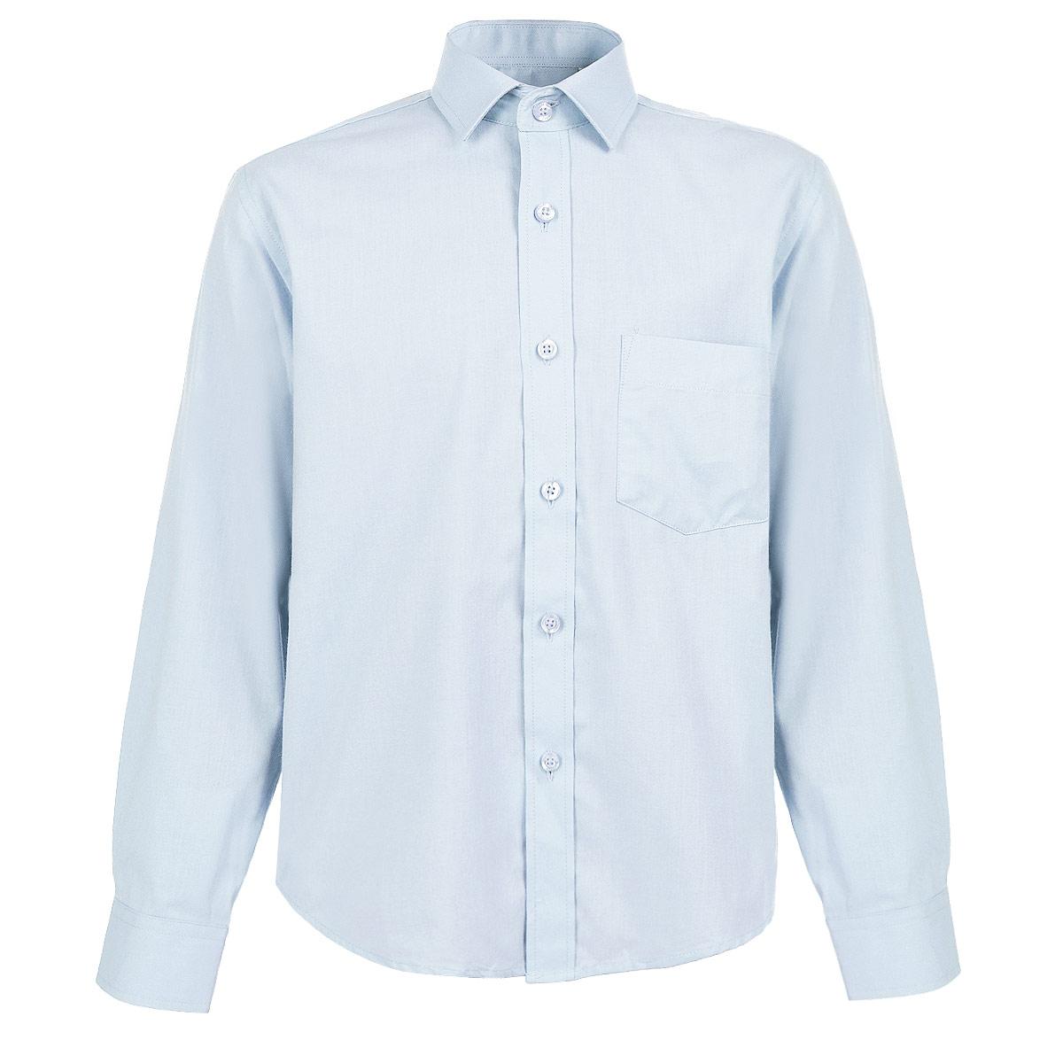 Рубашка для мальчика. 12741274Стильная рубашка для мальчика Tsarevich идеально подойдет вашему юному мужчине. Изготовленная из хлопка с добавлением полиэстера, она мягкая и приятная на ощупь, не сковывает движения и позволяет коже дышать, не раздражает даже самую нежную и чувствительную кожу ребенка, обеспечивая ему наибольший комфорт. Однотонная рубашка классического кроя с длинными рукавами и отложным воротничком застегивается по всей длине на пуговицы. На груди она дополнена накладным карманом. Края рукавов дополнены широкими манжетами на пуговицах. Низ изделия немного закруглен к боковым швам. Такая рубашка будет прекрасно смотреться с брюками и джинсами. Она станет неотъемлемой частью детского гардероба.