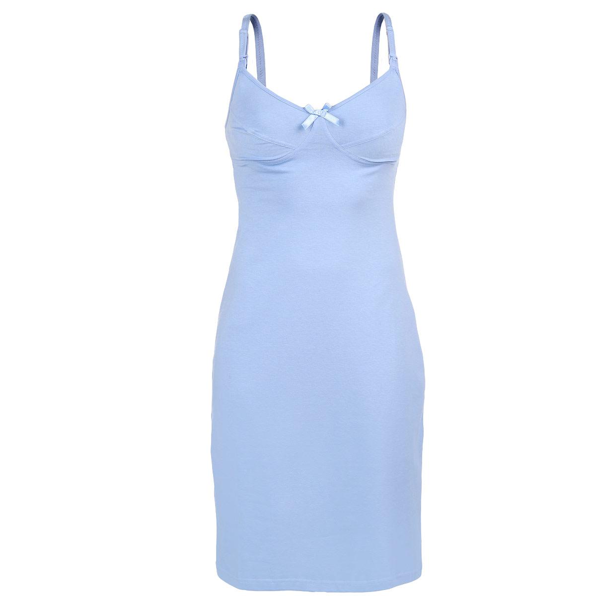Ночная рубашка24130Удобная, красивая ночная сорочка для беременных и кормящих мам Мамин Дом, изготовленная из хлопка с добавлением эластана, женственна и элегантна. Модель на тонких бретелях с V-образным вырезом горловины украшена на груди атласным бантом. Бретельки регулируются по длине и спереди легко отстегиваются благодаря пластиковым клипсам, что позволяет в любой момент быстро и легко покормить малыша. Свободный крой позволяет носить ночную сорочку, как во время беременности, так и после родов. Такая сорочка сделает сон и отдых будущей мамы комфортным. Одежда, изготовленная из хлопка, приятна к телу, сохраняет тепло в холодное время года и дарит прохладу в теплое, позволяет коже дышать.