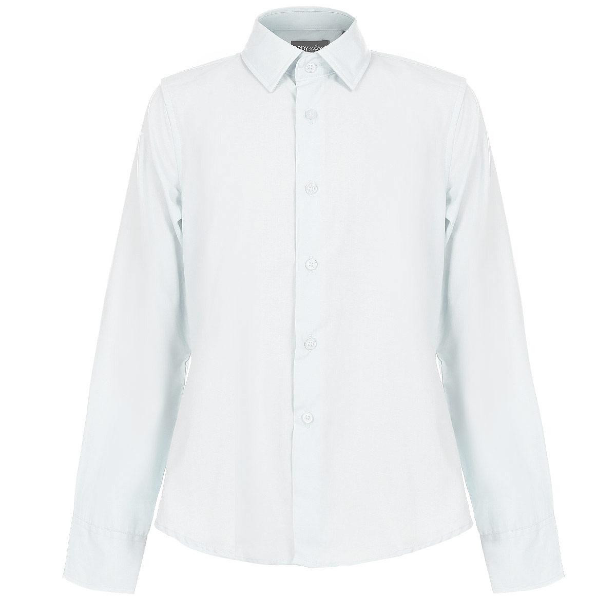 Рубашка для мальчика. 63032_OLB63032_OLBРубашка для мальчика Orby School идеально подойдет вашему юному мужчине. Изготовленная из полиэстера с добавлением хлопка, она мягкая и приятная на ощупь, не сковывает движения и позволяет коже дышать, не раздражает даже самую нежную и чувствительную кожу ребенка, обеспечивая ему наибольший комфорт. Однотонная рубашка классического кроя с длинными рукавами и отложным воротничком застегивается по всей длине на пуговицы. Края рукавов дополнены широкими манжетами на пуговицах. Низ изделия немного закруглен к боковым швам. Такая рубашка будет прекрасно смотреться с брюками и джинсами. Она станет неотъемлемой частью детского гардероба.