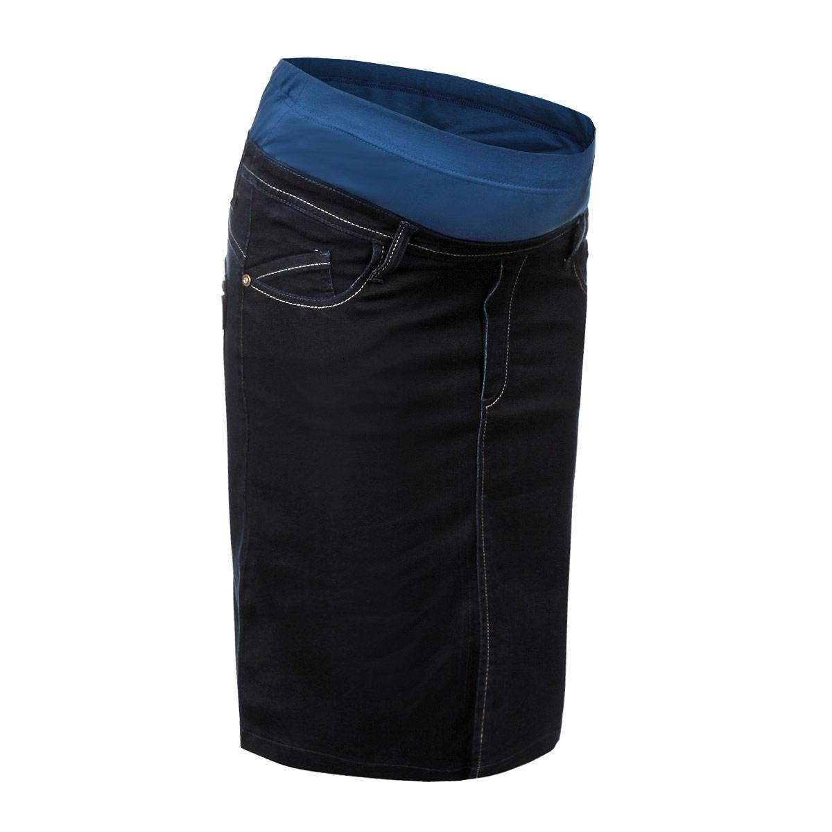 6604.1Очень удобная джинсовая юбка для беременных Nuova Vita с бандажом под живот, изготовленная из эластичного хлопка, придает женщине элегантность и индивидуальность. Юбка прямого силуэта имеет спереди - два втачных кармана и два маленьких накладных кармашка, а сзади - два накладных кармана. Сзади юбки небольшая шлица. Имеются шлевки для ремня и имитация ширинки. Бандаж из стрейч-ткани поддерживает живот и уменьшает нагрузку на поясницу, с внутренней стороны регулируется эластичной резинкой на пуговице. Идеальная посадка, длинна до колен, прекрасный выбор для стильных женщин в качестве повседневной одежды. Создавайте ваш неповторимый образ, комбинируя юбку с блузами и туниками!