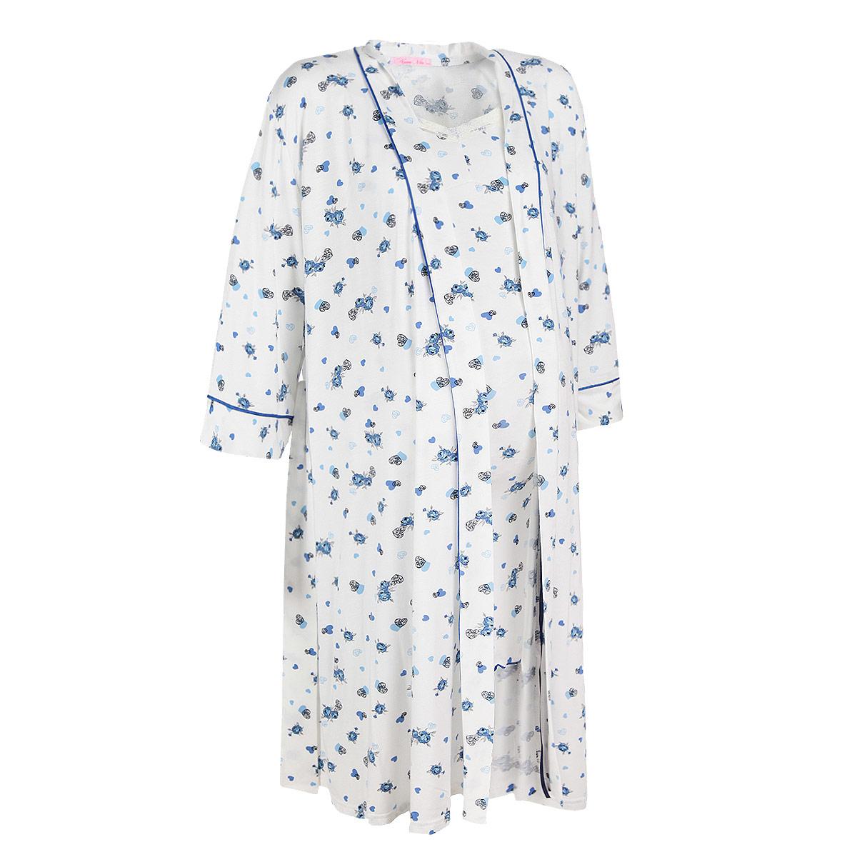 Домашний комплект714.1Элегантный комплект для кормящих Nuova Vita Amata Madre Сердечки, состоящий из халата и сорочки, замечательно подходит для сна и отдыха. Красивая женственная расцветка сочетается с удобством и комфортом. Комплект выполнен из очень приятного материала качества суприм-вискоза, он мягкий и приятный к телу, не раздражает нежную и чувствительную кожу, позволяет ей дышать. Мягкая и шелковистая на ощупь ткань позволит вам чувствовать себя еще более уютно. Халат с запахом и рукавами ? укомплектован поясом, а внутри предусмотрены атласные завязки для долее комфортного ношения. Удобство халата состоит в доступности к груди и ширине рукавных пройм. Сорочка на регулируемых по длине бретелях с V-образной горловиной имеет удобные замочки клипсы, которые легко можно отстегнуть одной рукой. Чашка отстегивается от сплошной бретели. На спинке модель присборена на эластичную резинку для лучшего прилегания. Горловина декорирована кружевной тесьмой. Края изделия обработаны декоративной...