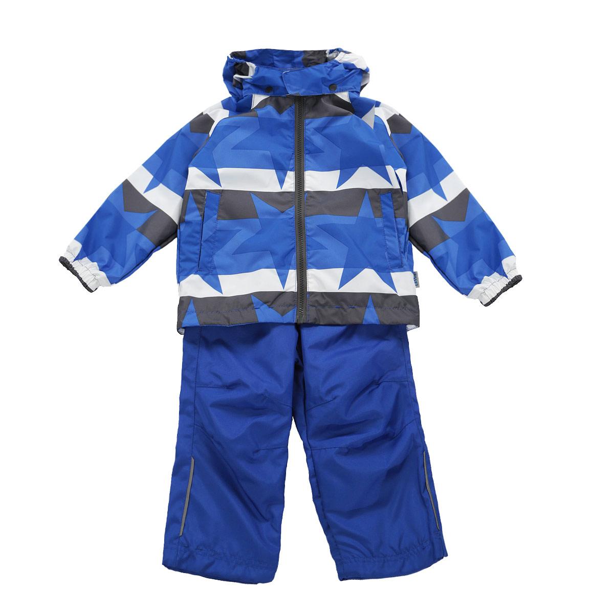 Комплект для мальчика: куртка, брюки. 723620 - Reima723620_6601Модный комплект для мальчика Reima Lassie, состоящий из куртки и брюк, идеально подойдет для ребенка в прохладное время года. Комплект изготовлен из водоотталкивающей и ветрозащитной ткани. Материал отличается высокой устойчивостью к трению, благодаря специальной обработке полиуретаном поверхность изделий отталкивает грязь и воду, что облегчает поддержание аккуратного вида одежды, дышащее покрытие с изнаночной части не раздражает даже самую нежную и чувствительную кожу ребенка, обеспечивая ему наибольший комфорт. Куртка с капюшоном застегивается на удобную пластиковую застежку-молнию и дополнительно имеет внутреннюю ветрозащитную планку, а также защиту подбородка. Капюшон, присборенный по бокам на эластичные резинки, защитит нежные щечки от ветра, он пристегивается к куртке при помощи кнопок и дополнительно застегивается клапаном под подбородком на липучку. Подкладка капюшона выполнена из микросетки. Низ модели дополнен скрытой эластичной резинкой со стопперами. Спереди...