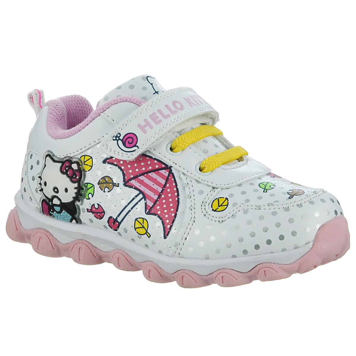 Кроссовки для девочки. 5295A5295AПрелестные кроссовки от Hello Kitty очаруют вашу малышку с первого взгляда! Модель выполнена из синтетической кожи и декорирована узором в горох. Ремешок с застежкой-липучкой и резинки, расположенные на подъеме, гарантируют оптимальную посадку кроссовок на ножке вашей дочурки. Задник оснащен ярлычком, который выполняет функцию ложки для обуви. Мягкая стелька из EVA-материала с текстильной поверхностью комфортна при ходьбе. Подошва с глубоким протектором обеспечивает идеальное сцепление с любой поверхностью. При движении декоративный объемный элемент в виде Hello Kitty, расположенный сбоку, начинает светиться. Эффектные кроссовки приведут в восторг вашу маленькую модницу!