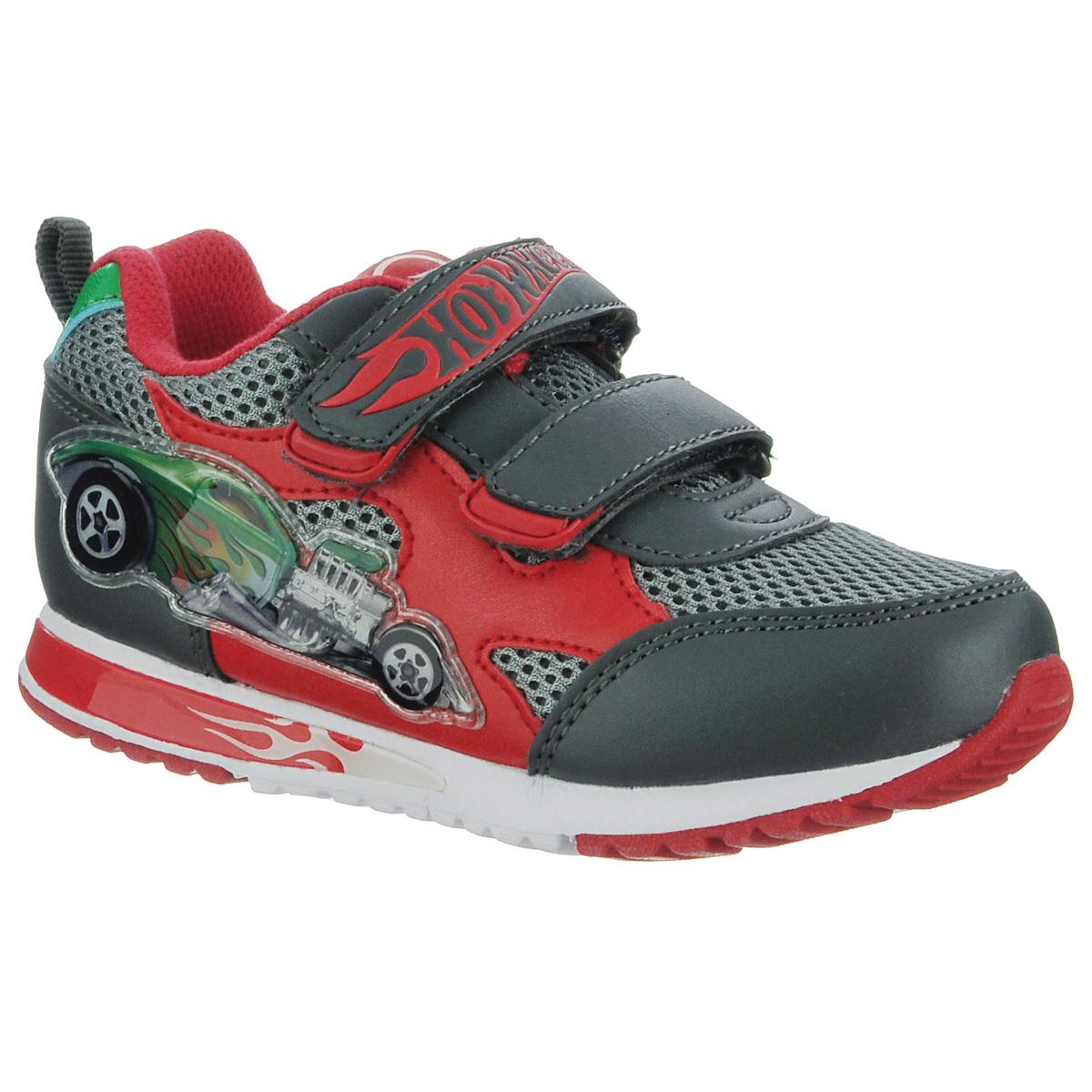 Кроссовки для мальчика. 5414A5414AСтильные кроссовки от Hot Wheels займут достойное место среди спортивной обуви вашего ребенка. Модель выполнена из текстиля с сетчатой поверхностью и декорирована вставками из синтетической кожи, текстильной нашивкой на язычке. Ремешок оформлен названием бренда, боковая сторона - изображением автомобиля, задник - логотипом бренда. Резиновый каркас носка защищает детскую стопу от ударов при ходьбе. Воздухопроницаемая поверхность верха обеспечивает отличную вентиляцию, позволяет ногам дышать. Два ремешка на застежках-липучках отвечают за надежную фиксацию модели на ноге. Стелька из текстиля дополнена супинатором с перфорацией, который гарантирует правильное положение ноги ребенка при ходьбе, предотвращает плоскостопие. Задник оснащен ярлычком, который облегчает процесс надевания обуви. Подошва с рифлением обеспечивает идеальное сцепление с любыми поверхностями. Удобные кроссовки - необходимая вещь в гардеробе каждого ребенка.