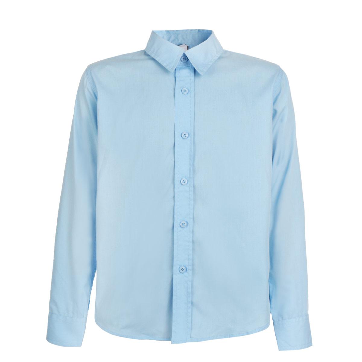 Рубашка для мальчика. 353010353010Стильная рубашка для мальчика Scool с длинными рукавами идеально подойдет вашему маленькому мужчине. Изготовленная из хлопка с добавлением полиэстера, она необычайно мягкая и приятная на ощупь, не сковывает движения ребенка и позволяет коже дышать, не раздражает даже самую нежную и чувствительную кожу, обеспечивая ему наибольший комфорт. Рубашка классического кроя с отложным воротничком застегивается на пуговицы. Рукава имеют широкие манжеты, также застегивающиеся на две пуговицы. Низ модели по бокам закруглен. Современный дизайн и расцветка делают эту рубашку модным и стильным предметом детского гардероба. В ней ваш ребенок всегда будет в центре внимания!