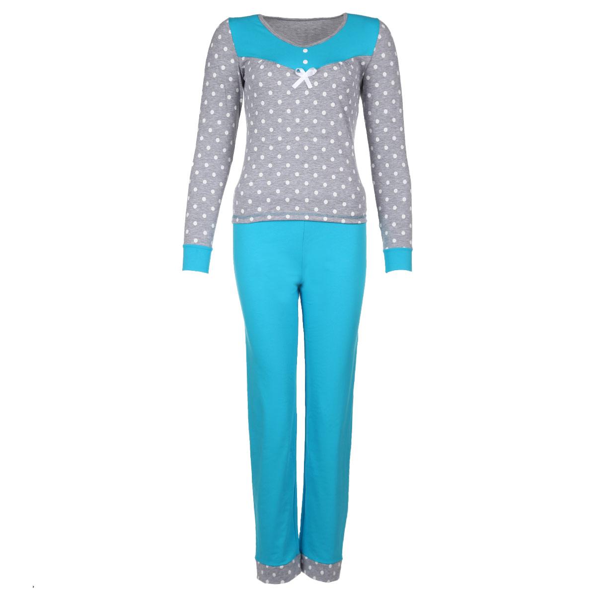 Комплект женский: лонгслив, брюки. 3838Женский комплект для дома Milana Style состоит из лонгслива и брюк. Комплект изготовлен из приятного на ощупь хлопкового материала. Одежда не сковывает движения и позволяет коже дышать. Лонгслив свободного кроя с круглым вырезом горловины и длинными рукавами оформлен принтом в горошек и на груди дополнен контрастной вставкой в топ брюк. Над грудью изделие украшено двумя пуговками и атласным бантиком. Манжеты рукавов также выполнены в контрастном цвете. Прямые свободные брюки на широкой эластичной резинке - удобная и практичная вещь в гардеробе. Идеальные конструкции и приятное цветовое решение - отличный выбор на каждый день. В таком комплекте вам будет максимально комфортно и уютно.