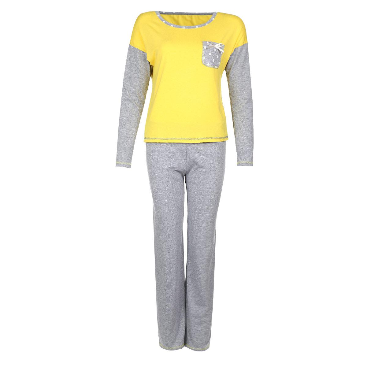 Комплект женский: лонгслив, брюки. 4040Женский комплект для дома Milana Style состоит из лонгслива и брюк. Комплект изготовлен из приятного на ощупь хлопкового материала. Лонгслив и брюки не сковывают движения и позволяют коже дышать. Лонгслив свободного кроя, с круглым вырезом горловины и длинными рукавами оформлен нагрудным кармашком с атласным бантиком. Прямые свободные брюки на широкой эластичной резинке - удобная и практичная вещь в гардеробе. Идеальные конструкции и приятное цветовое решение - отличный выбор на каждый день. В таком комплекте вам будет максимально комфортно и уютно.