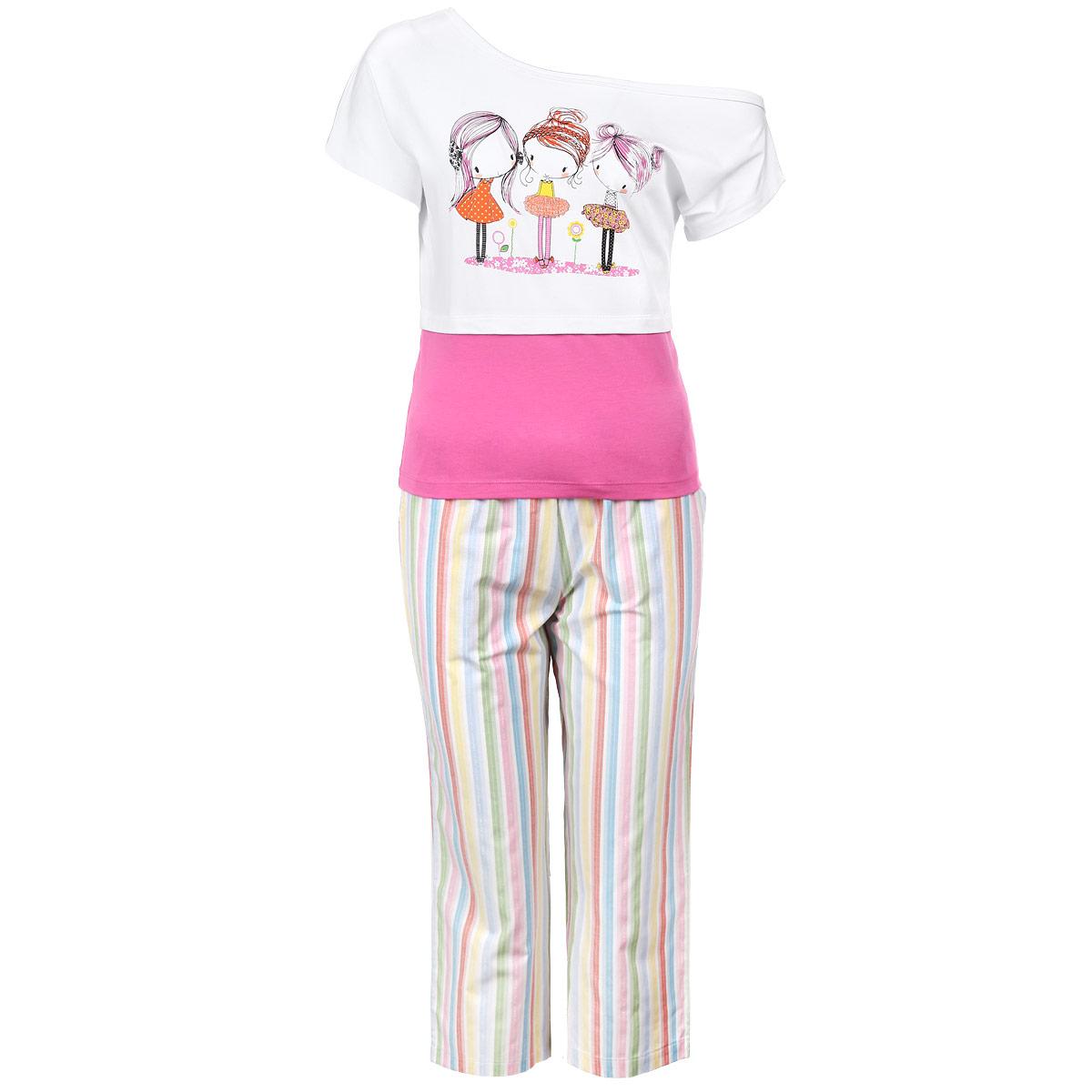 Пижама женская. 62606260Стильная и удобная женская пижама Milana Style состоит из футболки и брюк. Пижама изготовлена из приятного на ощупь хлопкового материала. Футболка и брюки не сковывают движения и позволяют коже дышать. Футболка свободного кроя с асимметричным вырезом горловины и спущенным на одно плечо рукавом, на груди оформлена принтом с изображением трех очаровательных девочек. Укороченные свободные брюки прямого кроя на широкой эластичной резинке оформлены полосатым принтом. На талии предусмотрен затягивающийся шнурок. Модель также имеет боковые карманы с косыми срезами. Идеальные конструкции и приятное цветовое решение - отличный выбор на каждый день. В такой пижаме вам будет максимально комфортно и уютно.