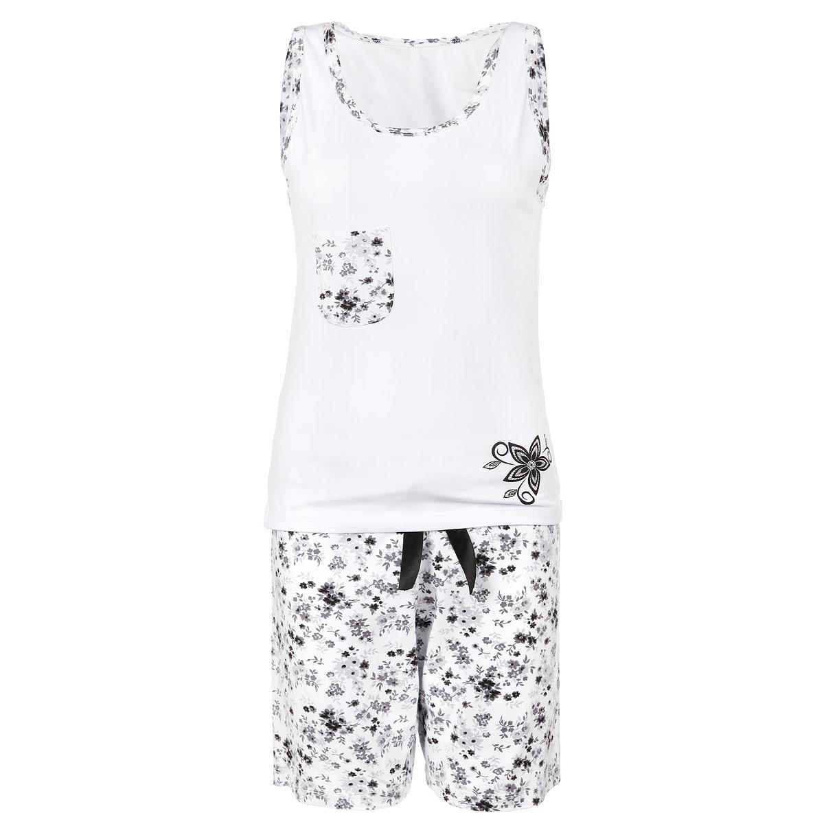 Пижама женская. 637637Женская пижама Milana Style состоит из майки и шортиков. Пижама выполнена из приятного на ощупь хлопкового материала. Майка и шорты не сковывают движения и позволяют коже дышать. Майка прямого кроя с круглым вырезом горловины, без рукавов на груди оформлена накладным кармашком и контрастным принтом, расположенным в нижней части изделия. Свободные шорты на широкой эластичной резинке оформлены цветочным принтом и атласным бантиком на талии. Идеальные конструкции и приятное цветовое решение - отличный выбор на каждый день. В такой пижаме вам будет максимально комфортно и уютно.