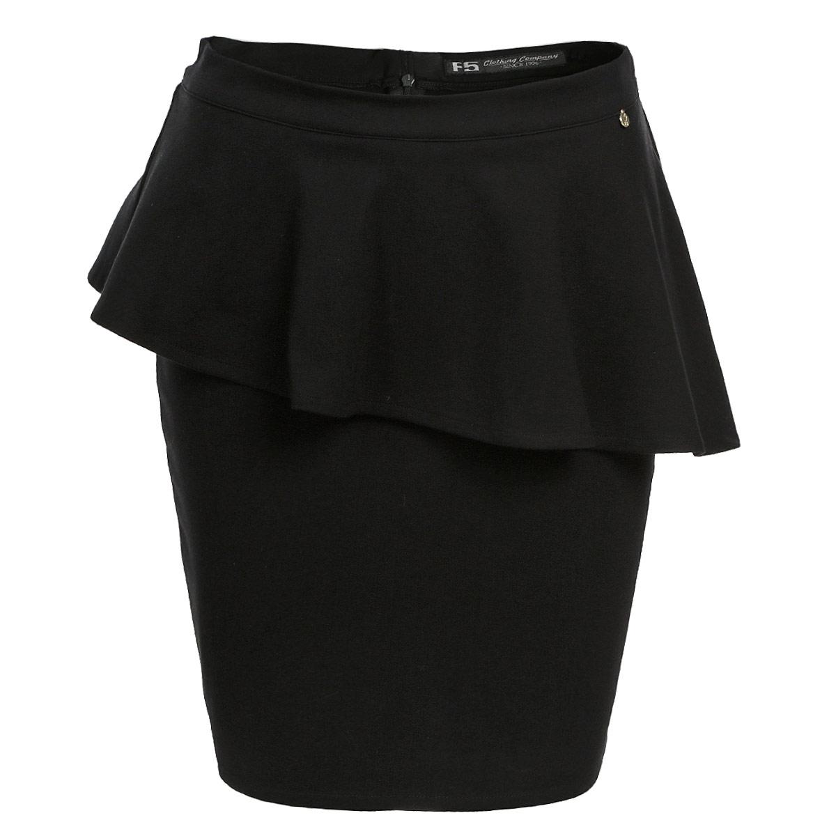 Юбка. 1331113311Стильная юбка F5 изготовлена из плотного эластичного материала, приятного на ощупь. Юбка длины миди подчеркнет все достоинства вашей фигуры. Модель оформлена ассиметричной баской. Сзади юбка застегивается на потайную молнию. Эта модная юбка - отличный вариант на каждый день. Она займет достойное место в вашем гардеробе и подчеркнет ваш безупречный вкус.