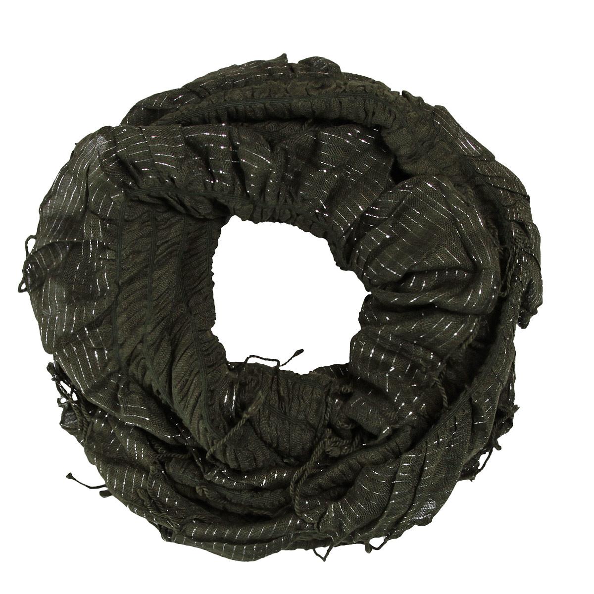 Шарф748070Элегантный шарф, выполненный из 100% вискозы, создан подчеркивать роскошную неоднозначность вашего образа. Шарф по краям декорирован люрексом и кистями, скрученными в жгутики. Этот модный аксессуар женского гардероба гармонично дополнит образ современной женщины, следящей за своим имиджем и стремящейся всегда оставаться стильной и элегантной. В этом шарфе вы всегда будете выглядеть женственной и привлекательной.