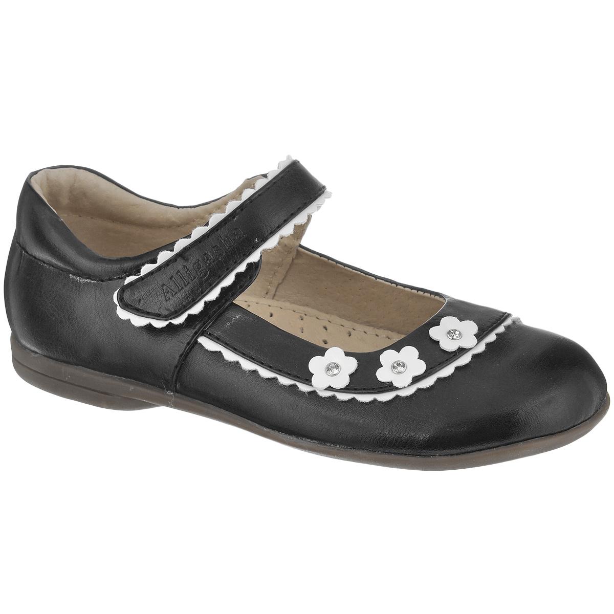 Туфли для девочки. 11-10211-102Прелестные туфли от Аллигаша очаруют вашу девочку с первого взгляда! Модель с округлым мысом выполнена из искусственной кожи и оформлена фигурным кантом, аппликацией в виде цветочков, стразами в металлической оправе. Ремешок на застежке-липучке, оформленный тисненым названием бренда, обеспечивает надежную фиксацию обуви на ноге. Стелька с супинатором, выполненная из натуральной кожи, обеспечивает правильное положение ноги ребенка при ходьбе, предотвращает плоскостопие. Подошва с рифлением в виде оригинального рисунка обеспечивает идеальное сцепление с любой поверхностью. Чудесные туфли подойдут как для повседневной носки, так и для торжественных случаев.