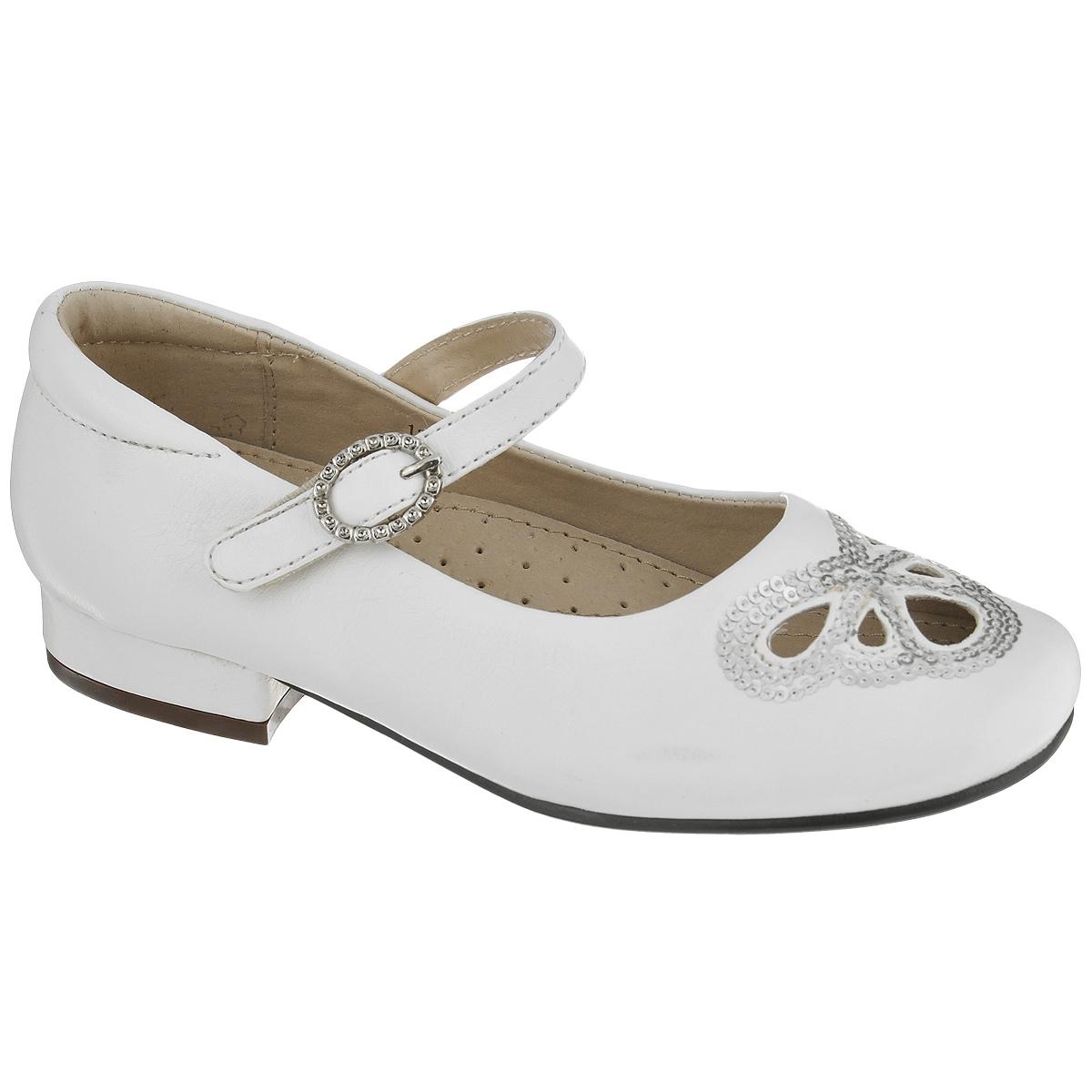 Туфли для девочки. 13-36513-365Модные туфли от Аллигаша придутся по душе вашей юной моднице! Модель выполнена из искусственной кожи и оформлена перфорацией в виде бабочки, украшенной пайетками. Ремешок на застежке-липучке, дополненный декоративной металлической пряжкой, гарантирует надежную фиксацию обуви на ноге. Стелька с супинатором, выполненная из натуральной кожи, обеспечивает правильное положение ноги ребенка при ходьбе, предотвращает плоскостопие. Рифленая поверхность каблука и подошвы защищает изделие от скольжения. Удобные туфли займут достойное место в гардеробе вашей девочки.