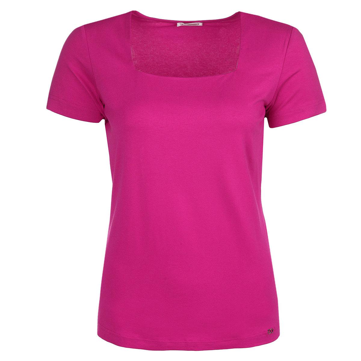 Футболка женская. 6074/260746074Стильная женская футболка Mondigo, выполненная из высококачественного материала, обладает высокой теплопроводностью, воздухопроницаемостью и гигроскопичностью, позволяет коже дышать. Модель с короткими рукавами и вырезом-каре - идеальный вариант для создания образа в стиле Casual. Однотонная футболка великолепно сочетается с любыми нарядами. Такая модель подарит вам комфорт в течение всего дня и послужит замечательным дополнением к вашему гардеробу.