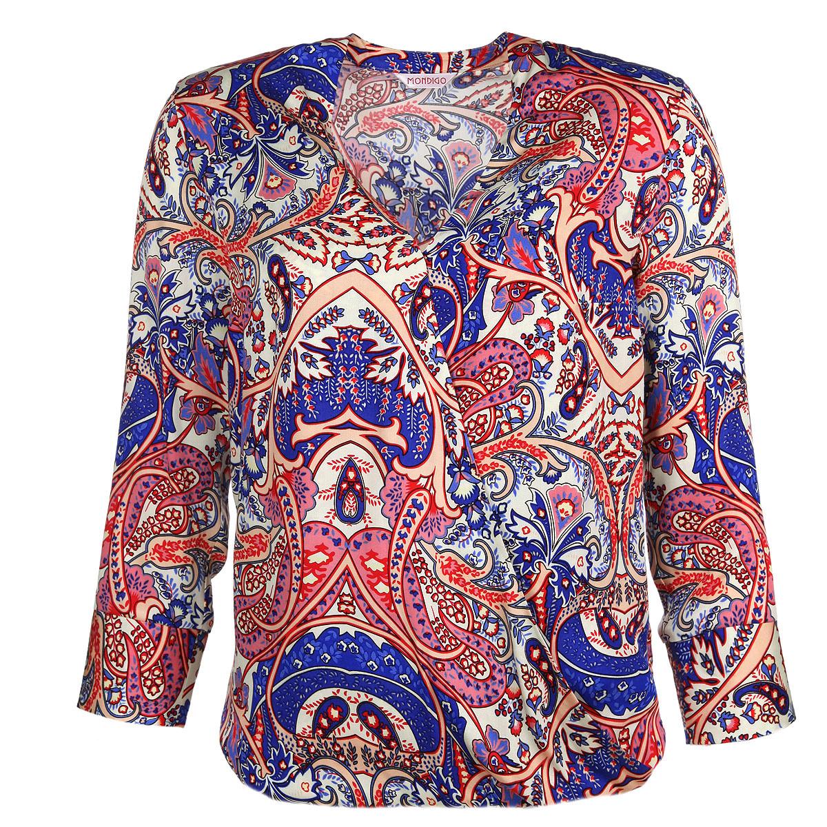 Блузка женская. 5114-15114-1Стильная блузка Mondigo выполнена из мягкой и приятной на ощупь вискозы с актуальным принтом. Модель свободного кроя с V-образным вырезом горловины, эффектом запаха на груди и рукавами длиной 3/4. Рукава дополнены отложными манжетами. Такая блузка будет удачно гармонировать с любыми предметами гардероба и позволит создать множество ярких образов.