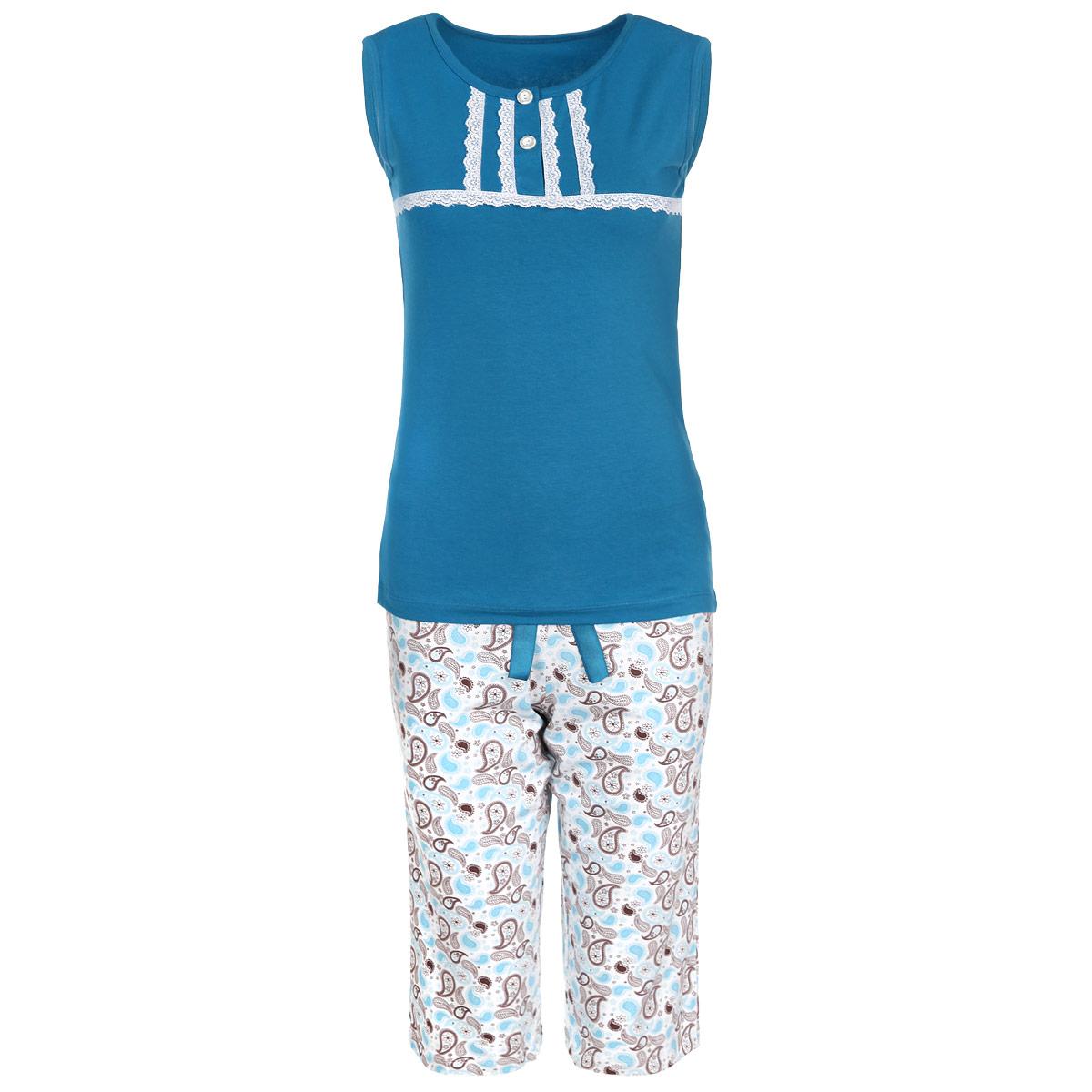 Пижама женская. 634634Женская пижама Milana Style состоит из майки и бридж. Пижама выполнена из приятного на ощупь хлопкового материала. Майка и бриджи не сковывают движения и позволяют коже дышать. Майка прямого кроя с круглым вырезом горловины и без рукавов, на груди застегивается на две пуговки. Майка декорирована кружевной тесьмой. Прямые свободные бриджи на широкой эластичной резинке оформлены оригинальным принтом и атласным бантиком на талии. Идеальные конструкции и приятное цветовое решение - отличный выбор на каждый день. В такой пижаме вам будет максимально комфортно и уютно.