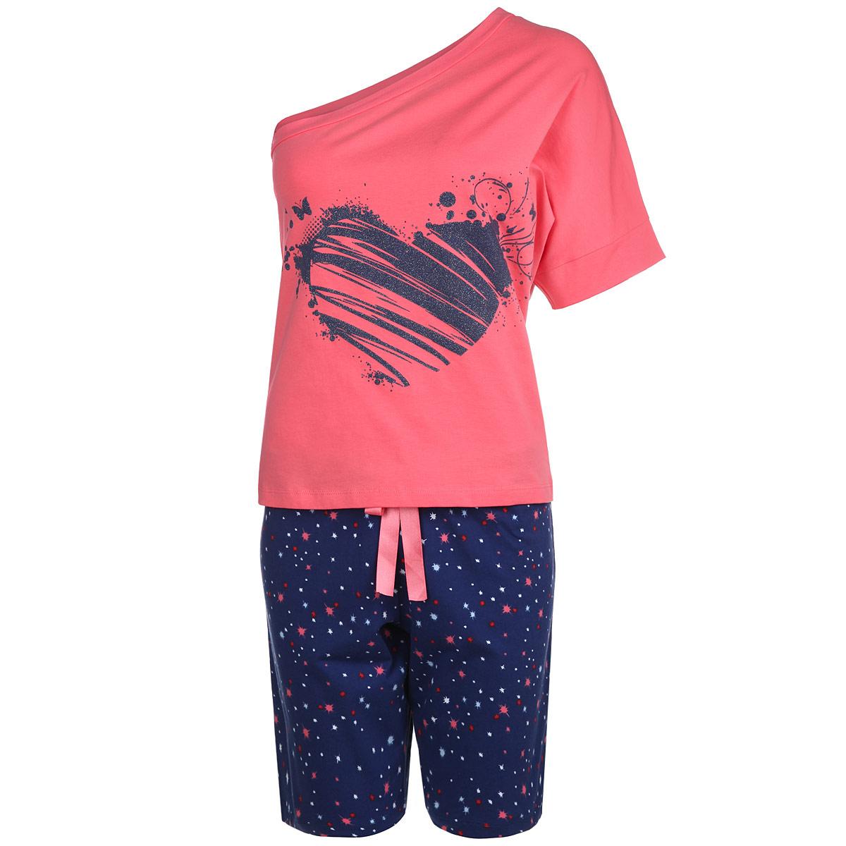 Пижама женская. 602602Женская пижама Milana Style состоит из футболки с коротким рукавом и шортиков. Пижама выполнена из приятного на ощупь хлопкового материала. Футболка и шорты не сковывают движения и позволяют коже дышать. Футболка свободного кроя с ассиметричным вырезом на одно плечо спереди оформлена принтовым рисунком с блестками. Прямые свободные шорты на широкой эластичной резинке оформлены принтом с изображением звезд и на талии дополнены атласным бантиком в тон футболки. Идеальные конструкции и приятное цветовое решение - отличный выбор на каждый день. В такой пижаме вам будет максимально комфортно и уютно.