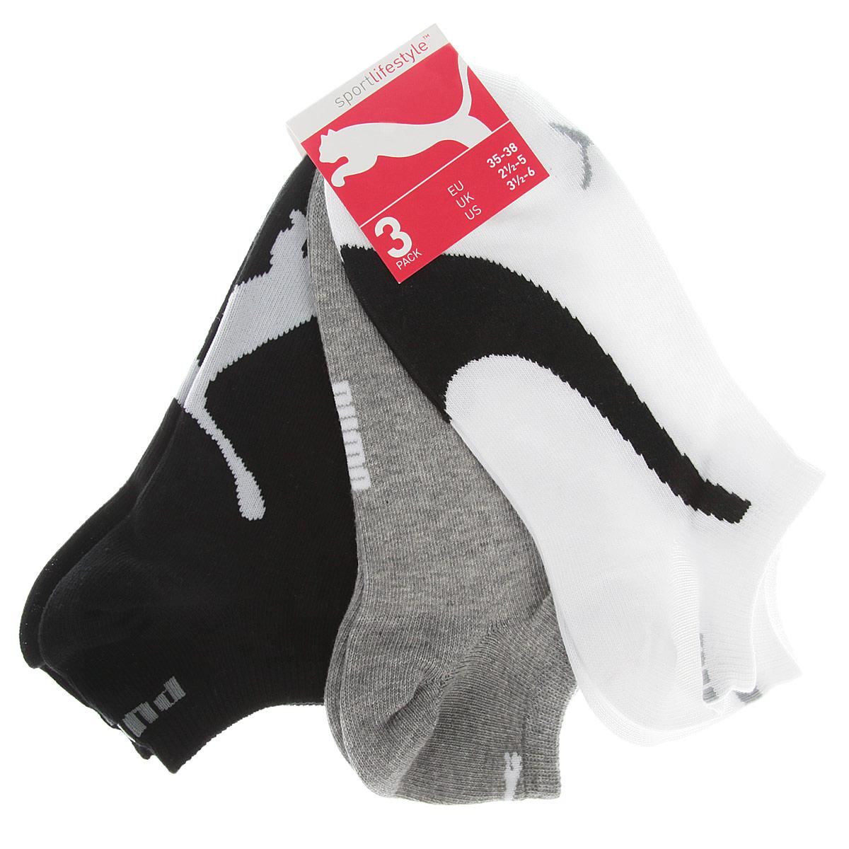 Носки унисекс Lifestyle Sneakers, 3 пары88641201Носки Puma Lifestyle Sneakers с укороченным паголенком изготовлены из хлопка с добавлением полиамида и эластана. Комфортная широкая резинка не сдавливает и облегает ногу. В комплект входят три пары носков, оформленных фирменным логотипом бренда.