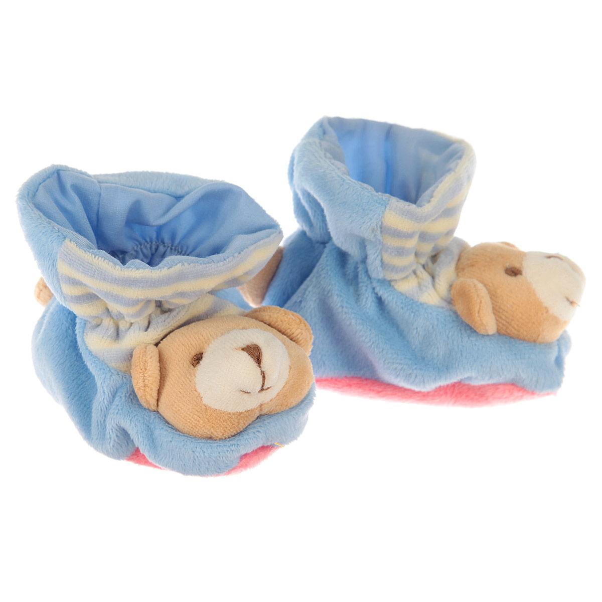 Р47061Очаровательные пинетки Baby Nice Мишки идеально подойдут для маленьких ножек вашего крохи! Они очень нежные и приятные на ощупь, не раздражают кожу и хорошо вентилируются. В хлопковых велюровых пинетках ножка малыша дышит и не мерзнет - созданы все комфортные условия, для того, чтобы подумать о первых шагах! Пинетки изготовлены из очень мягкого и приятного на ощупь ворсистого материала - 100% хлопка и оформлены объемной головой в виде медвежонка. Благодаря скрытой эластичной резинке пинетки будут отлично держаться на ножке младенца. Подошва выполнена в контрастном цвете. Такие пинетки - отличное решение для малышей и их родителей!