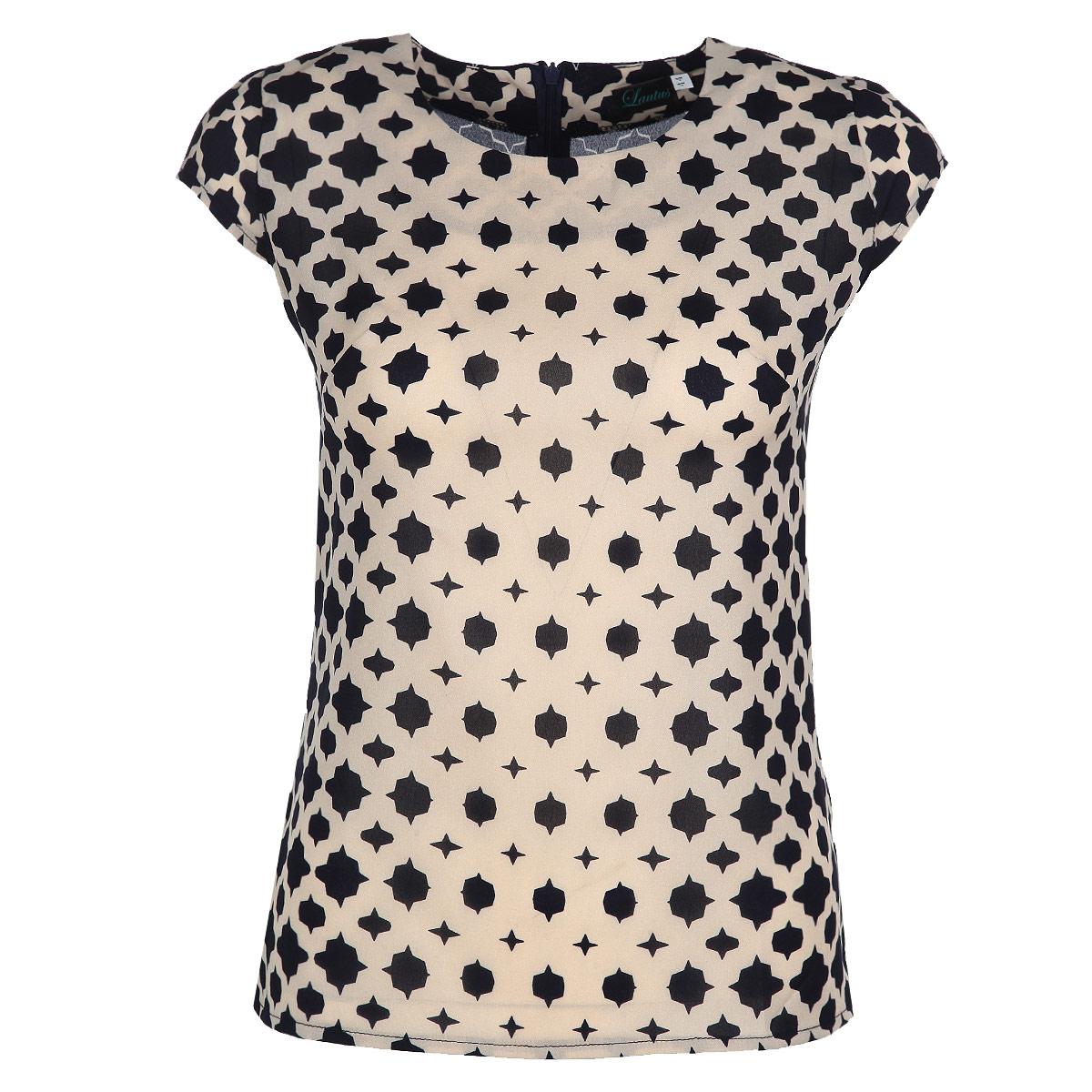 Блузкаб0335Элегантная блузка Lautus выполнена из струящегося полиэстера с небольшим добавлением эластана. Модель прямого кроя с короткими рукавами и круглым вырезом горловины. На спинке изделие застегивается на потайную застежку-молнию. Лаконичная блузка будет идеально сочетаться с узкими брюками или леггинсами. Эта модель послужит отличным дополнением к вашему гардеробу, в ней вы будете чувствовать себя комфортно.