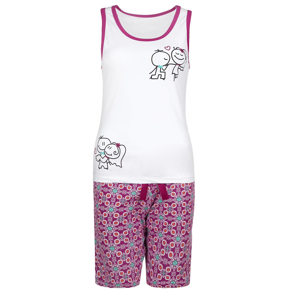 Пижама женская. 596596Женская пижама Milana Style состоит из майки и шортиков. Пижама выполнена из приятного на ощупь хлопкового материала. Майка и шорты не сковывают движения и позволяют коже дышать. Майка прямого кроя с круглым вырезом горловины на широких бретелях, на груди оформлена принтом с изображением забавных человечков. Свободные шорты на широкой эластичной резинке оформлены цветочным принтом и атласным бантиком на талии. Идеальные конструкции и приятное цветовое решение - отличный выбор на каждый день. В такой пижаме вам будет максимально комфортно и уютно.