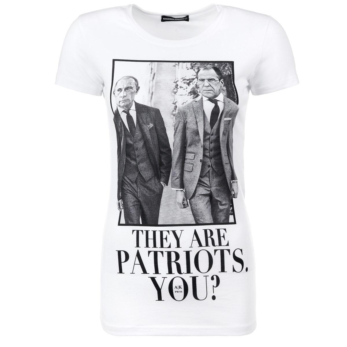 ФутболкаThey Are Patriots. Путин и ЛавровСтильная женская футболка Alexander Konasov, выполненная из высококачественного мягкого хлопка с небольшим добавлением лайкры, обладает высокой теплопроводностью, воздухопроницаемостью и гигроскопичностью, позволяет коже дышать. Модель с короткими рукавами и круглым вырезом горловины спереди оформлена принтом с изображением президента Путина и министра иностранных дел Лаврова и надписью They are patriots. You?. Эта футболка - идеальный вариант для создания эффектного образа. Все изделия бренда Alexander Konasov кроятся только по лекалам из высококачественной ткани, идеально сидят на фигуре, после стирки не деформируются.