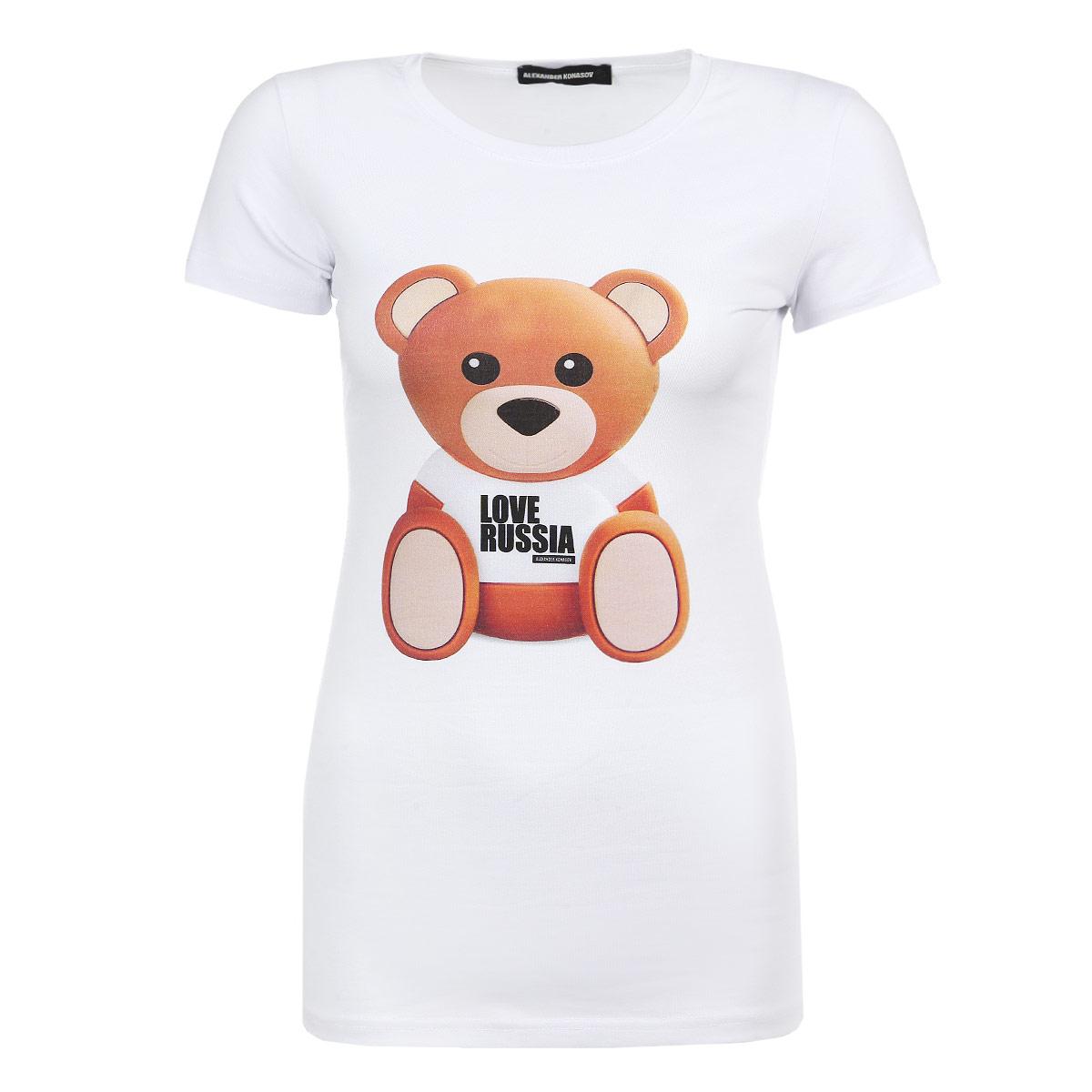 ФутболкаBear Love RussiaСтильная женская футболка Alexander Konasov Bear Love Russia, выполненная из высококачественного мягкого хлопка с небольшим добавлением лайкры, обладает высокой теплопроводностью, воздухопроницаемостью и гигроскопичностью, позволяет коже дышать. Футболка трапециевидного кроя с короткими рукавами и круглым вырезом горловины спереди оформлена оригинальным принтом с крупным изображением медвежонка в футболке с надписью Love Russia. Эта футболка - идеальный вариант для создания эффектного образа. Все изделия бренда Alexander Konasov кроятся только по лекалам из высококачественной ткани, идеально сидят на фигуре, после стирки не деформируются.