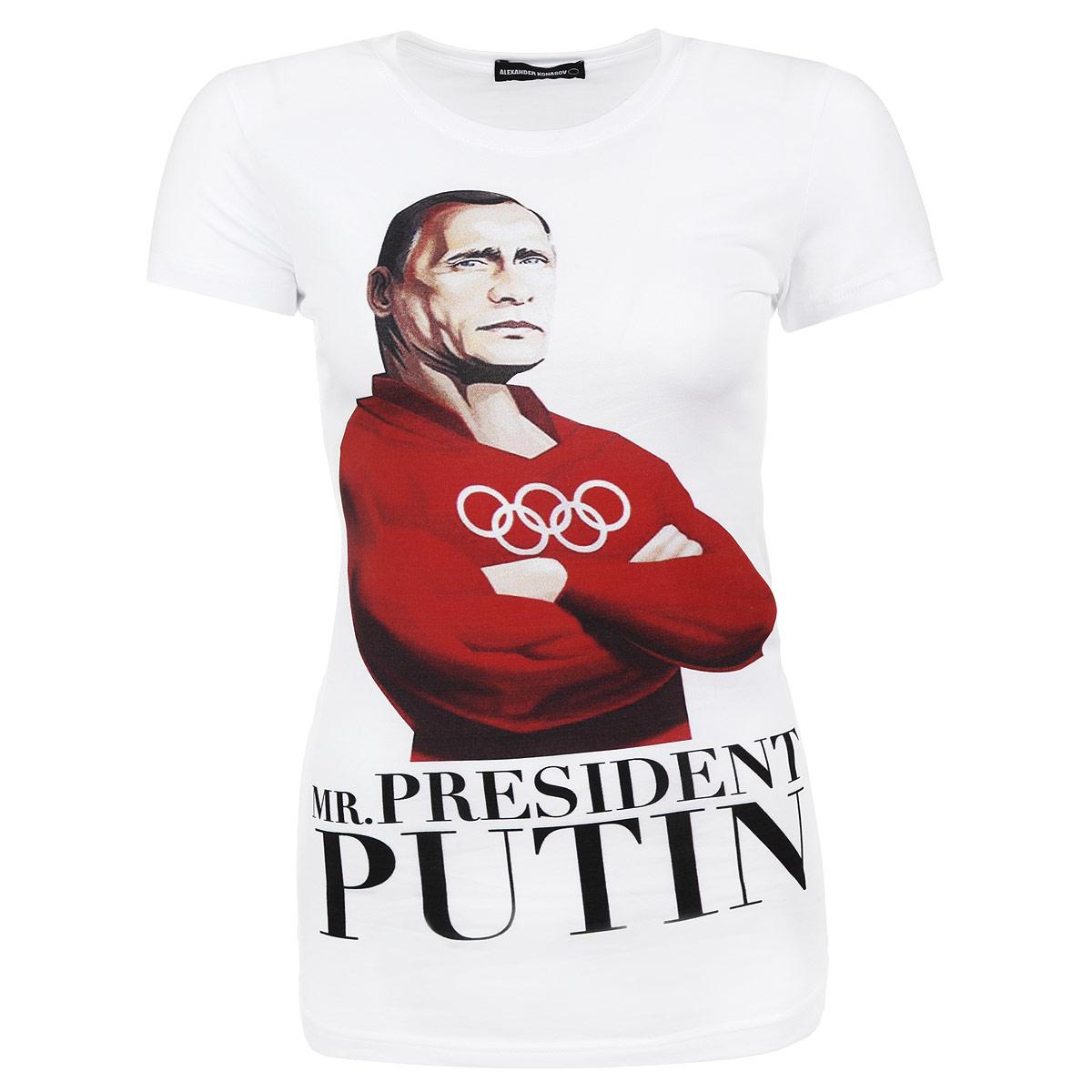 ФутболкаMr. President PutinСтильная женская футболка Alexander Konasov, выполненная из высококачественного мягкого хлопка с небольшим добавлением лайкры, обладает высокой теплопроводностью, воздухопроницаемостью и гигроскопичностью, позволяет коже дышать. Модель с короткими рукавами и круглым вырезом горловины спереди оформлена принтом с изображением Путина и надписью Mr. President Putin. Эта футболка - идеальный вариант для создания эффектного образа. Все изделия бренда Alexander Konasov кроятся только по лекалам из высококачественной ткани, идеально сидят на фигуре, после стирки не деформируются.