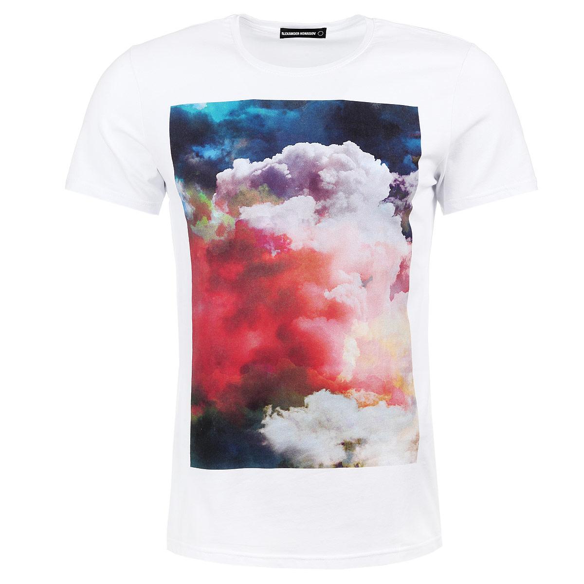 ОблакаМужская футболка Alexander Konasov с коротким рукавом и круглой горловиной выполнена из хлопка с добавлением лайкры. Она необычайно мягкая и приятная на ощупь, не сковывает движения и позволяет коже дышать, обеспечивая наибольший комфорт. Модель оформлена принтом с изображением облаков. Такая футболка отлично дополнит ваш образ и позволит выделиться из толпы.
